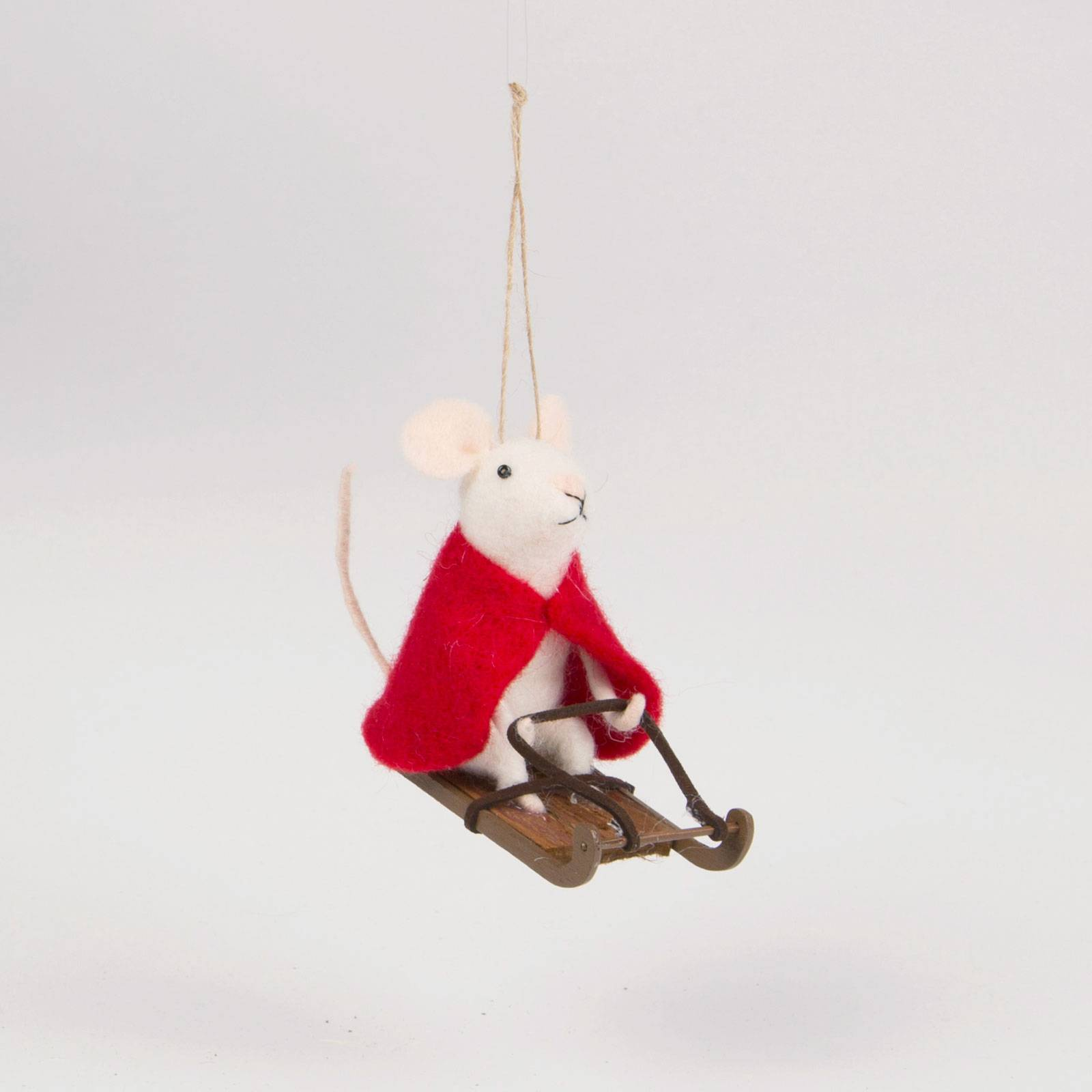 Sledging Mouse Felt Christmas Decoration