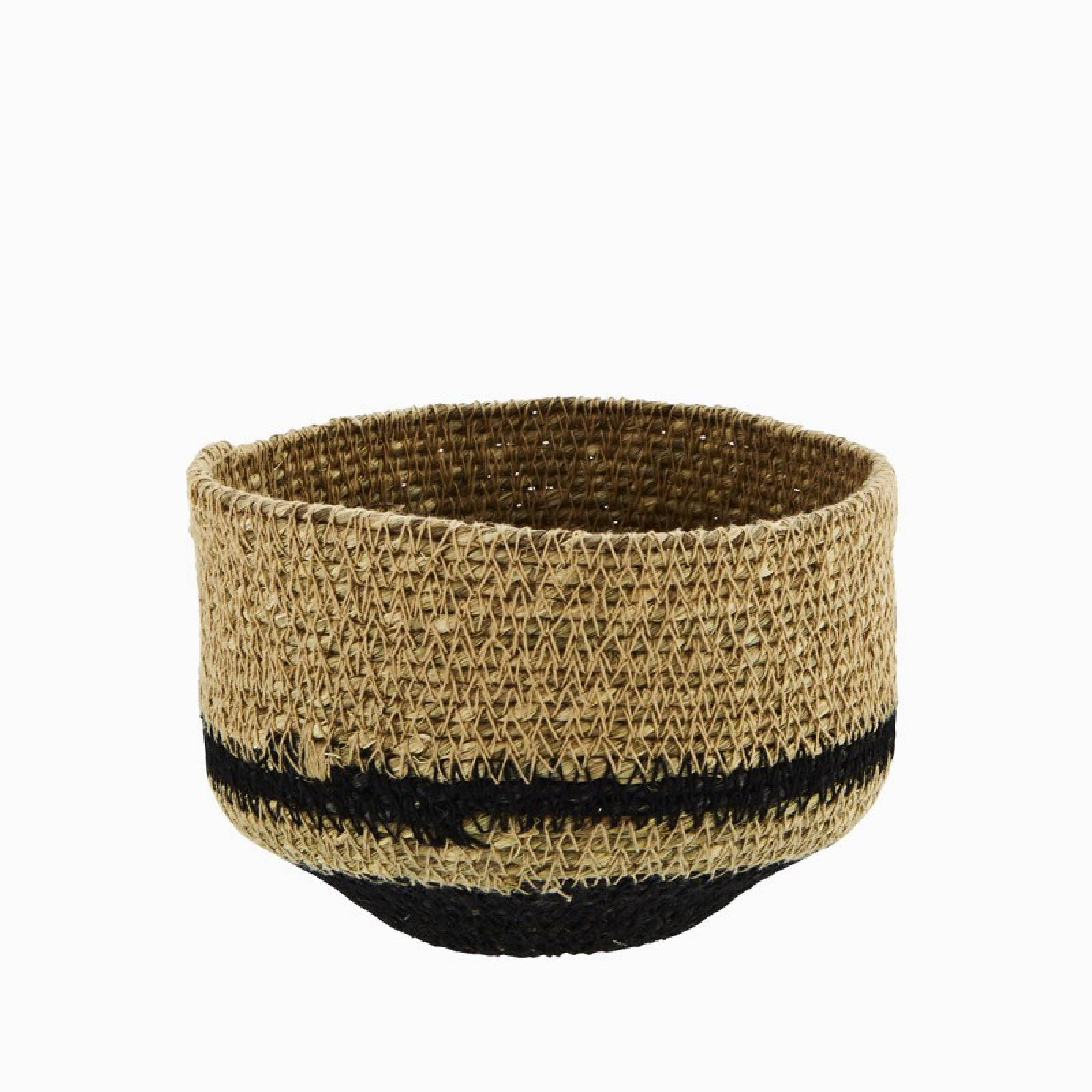 Small Black & Natural Seagrass Tapered Basket