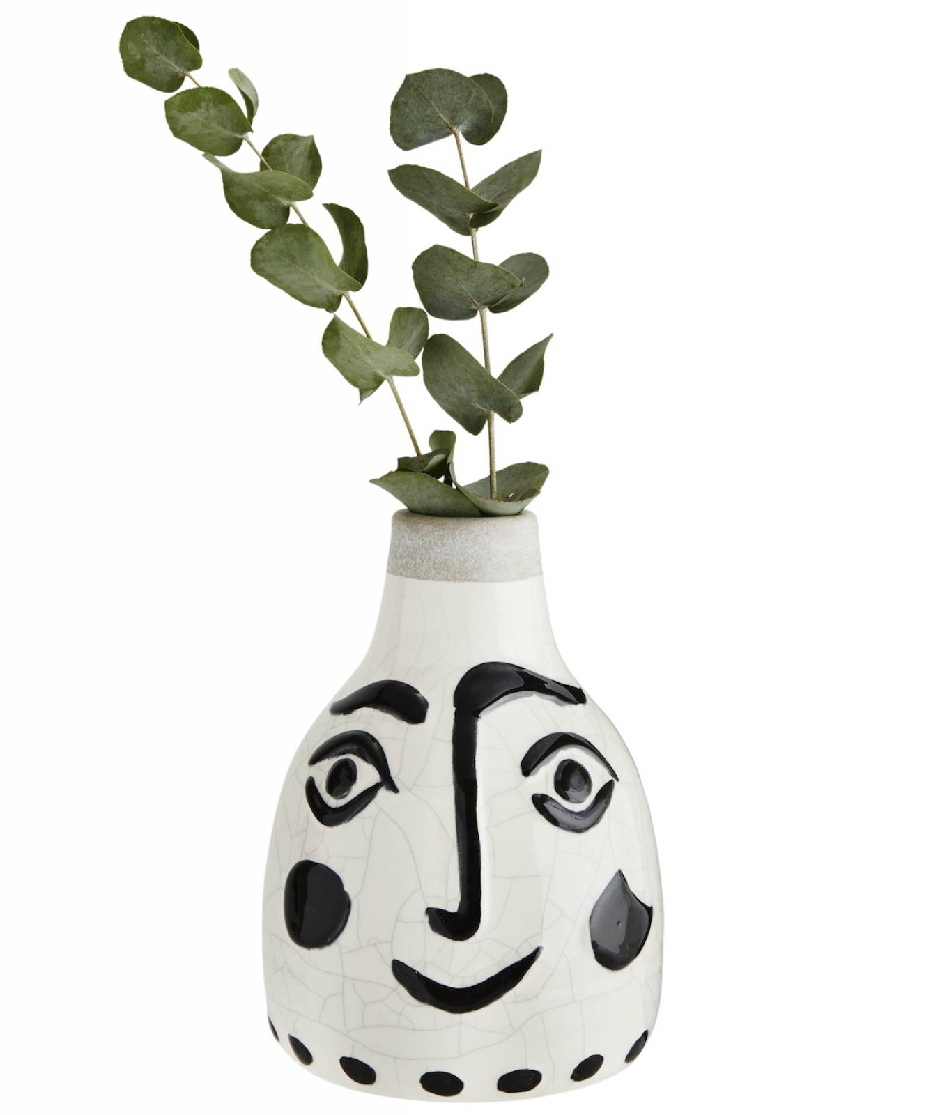 Small Painted Face Vase Black And White thumbnails