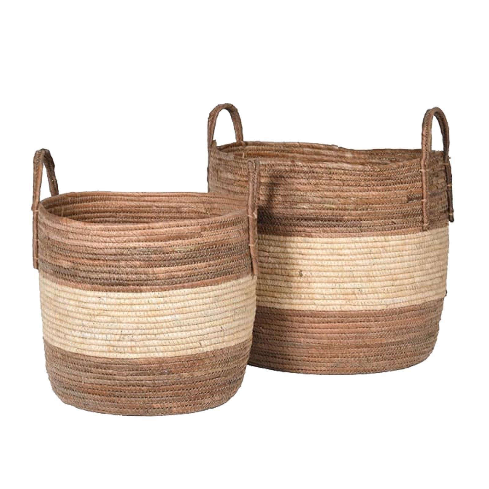 Large Striped Banana Leaf Basket With Handles H:30x36