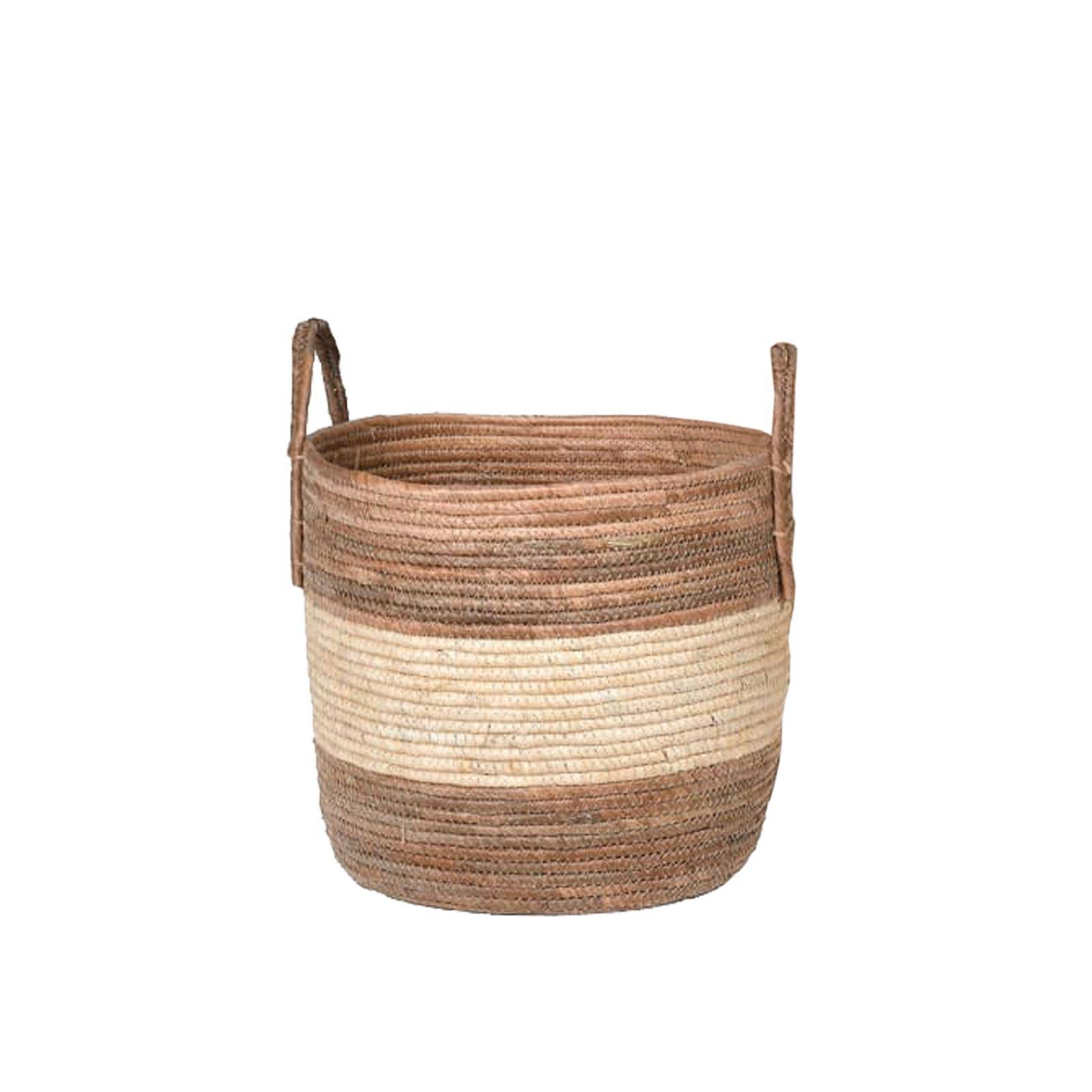 Small Striped Banana Leaf Basket With Handles H:30
