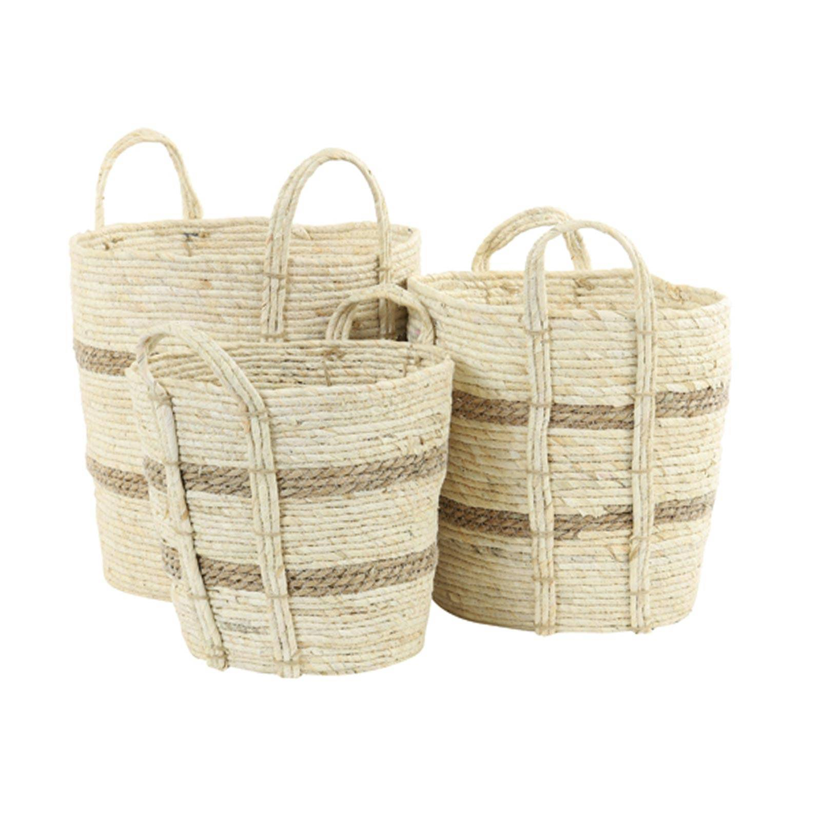 Small White Basket With Brown Stripes With Handles H: 30cm thumbnails