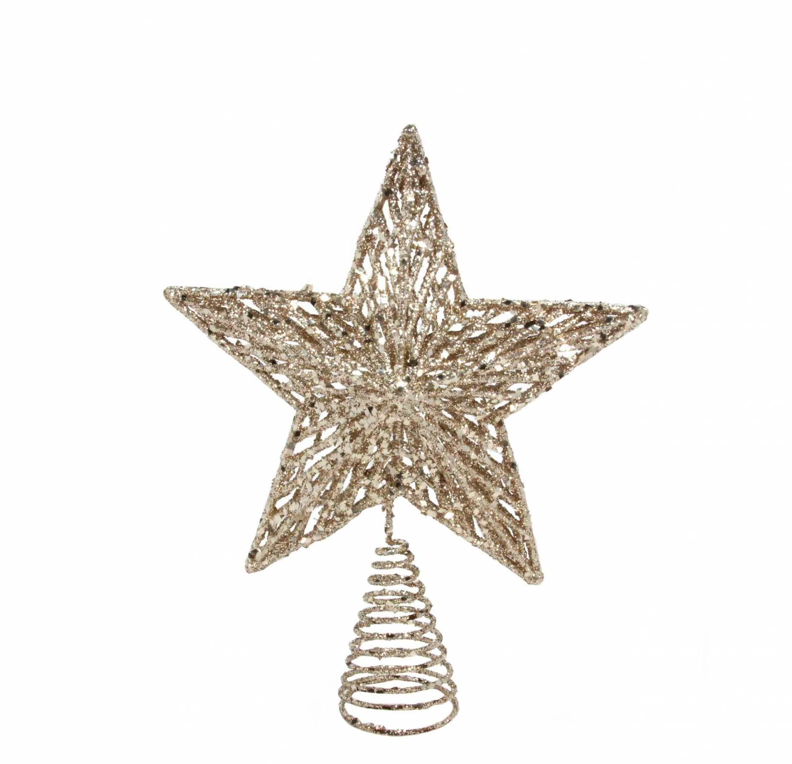 Small Gold Glitter Star Tree Topper Decoration By Gisela Graham