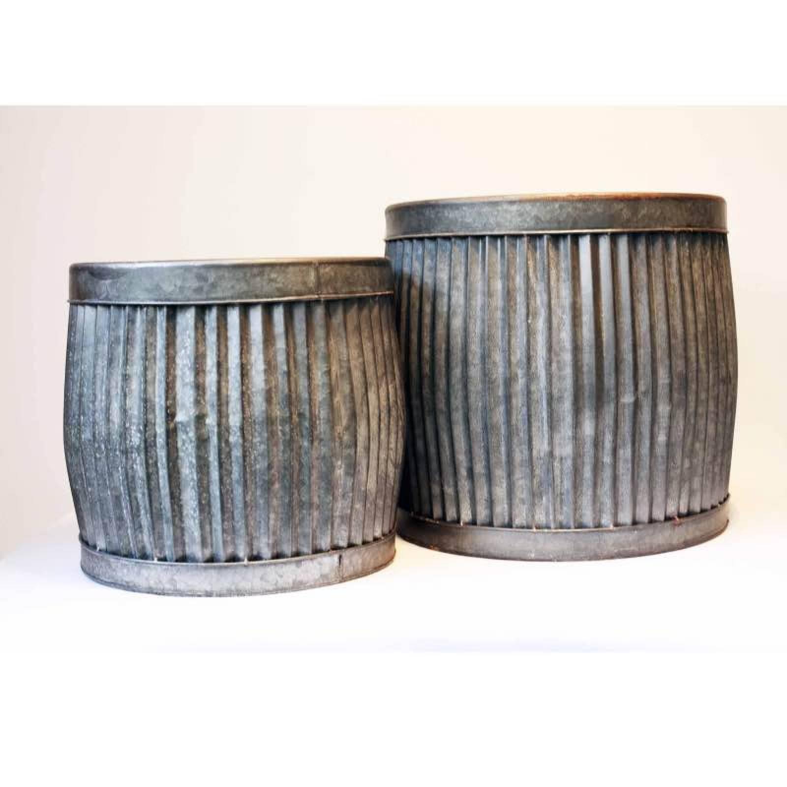 Small Metal Dolly Tub Planter H: 30cm thumbnails