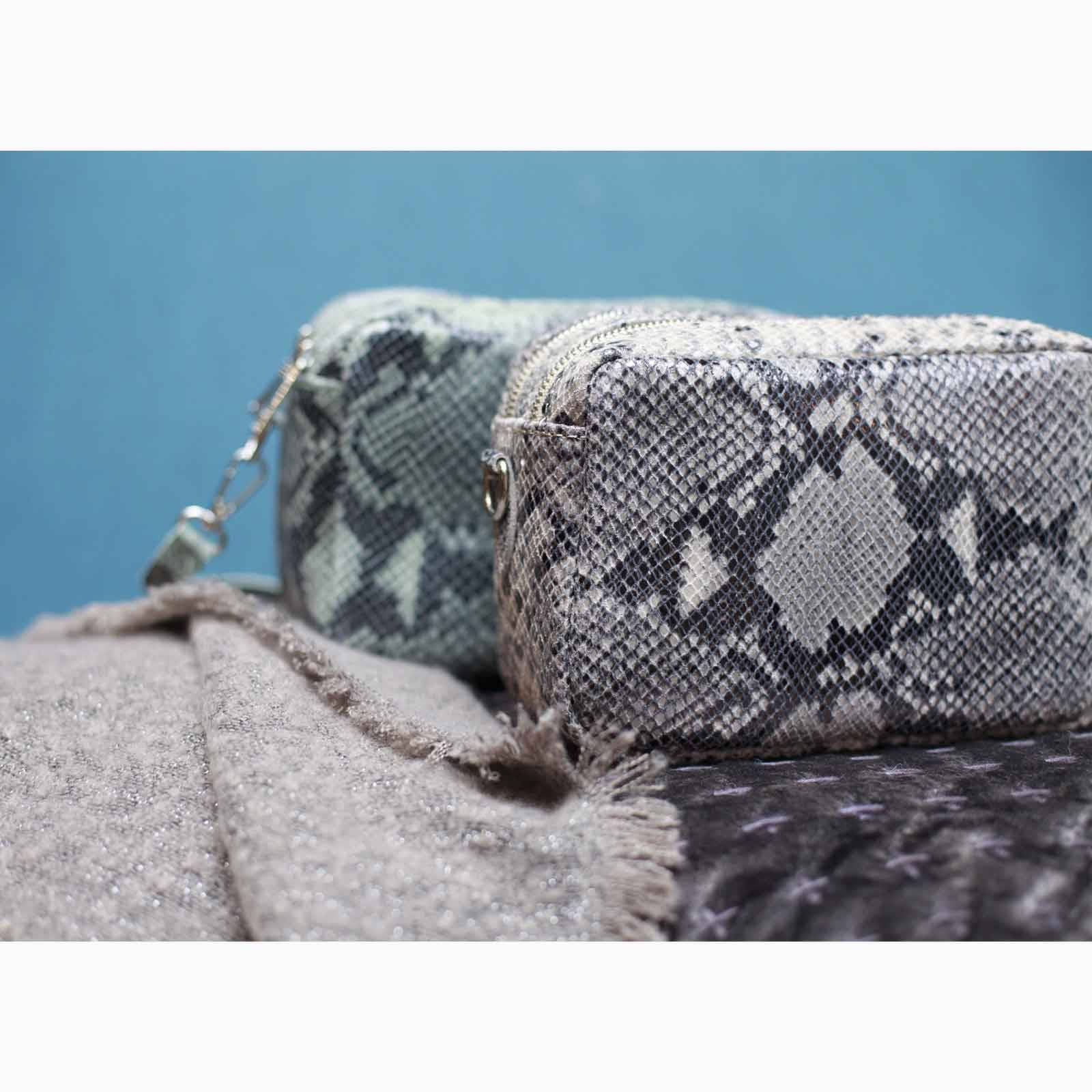 Snake Print Double Zip Cross Body Bag In Taupe thumbnails