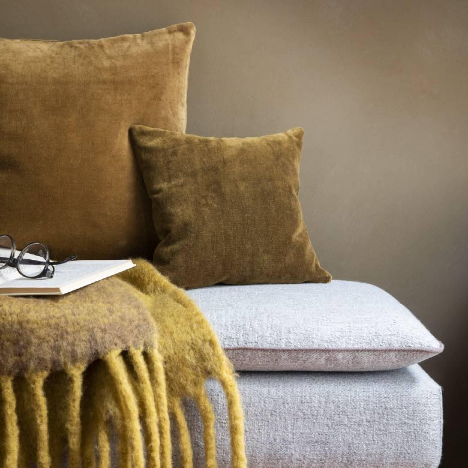 Square Mini Velvet Cushion In Mustard