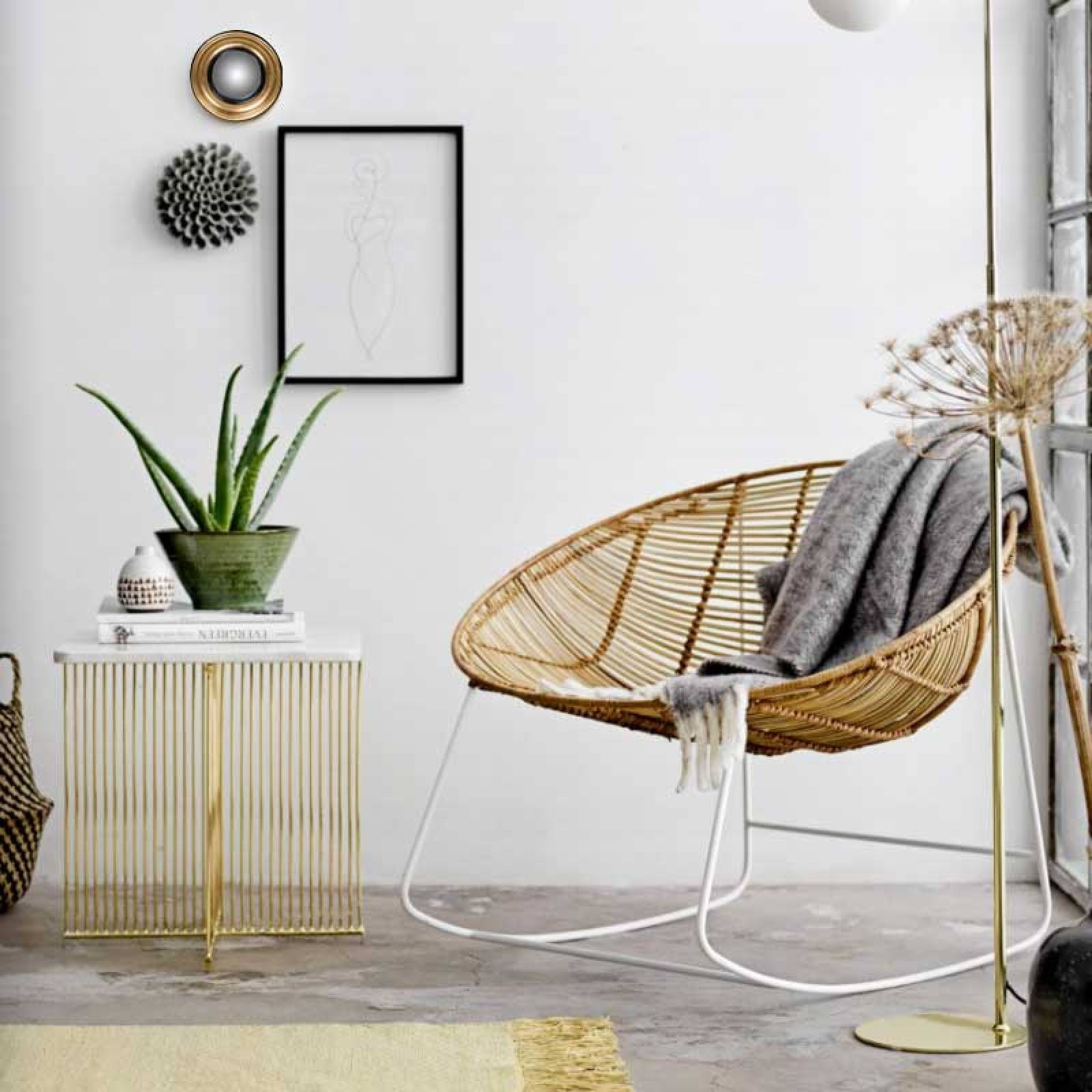 Square White Marble Side Table Gold Base | Delivery Surcharge thumbnails