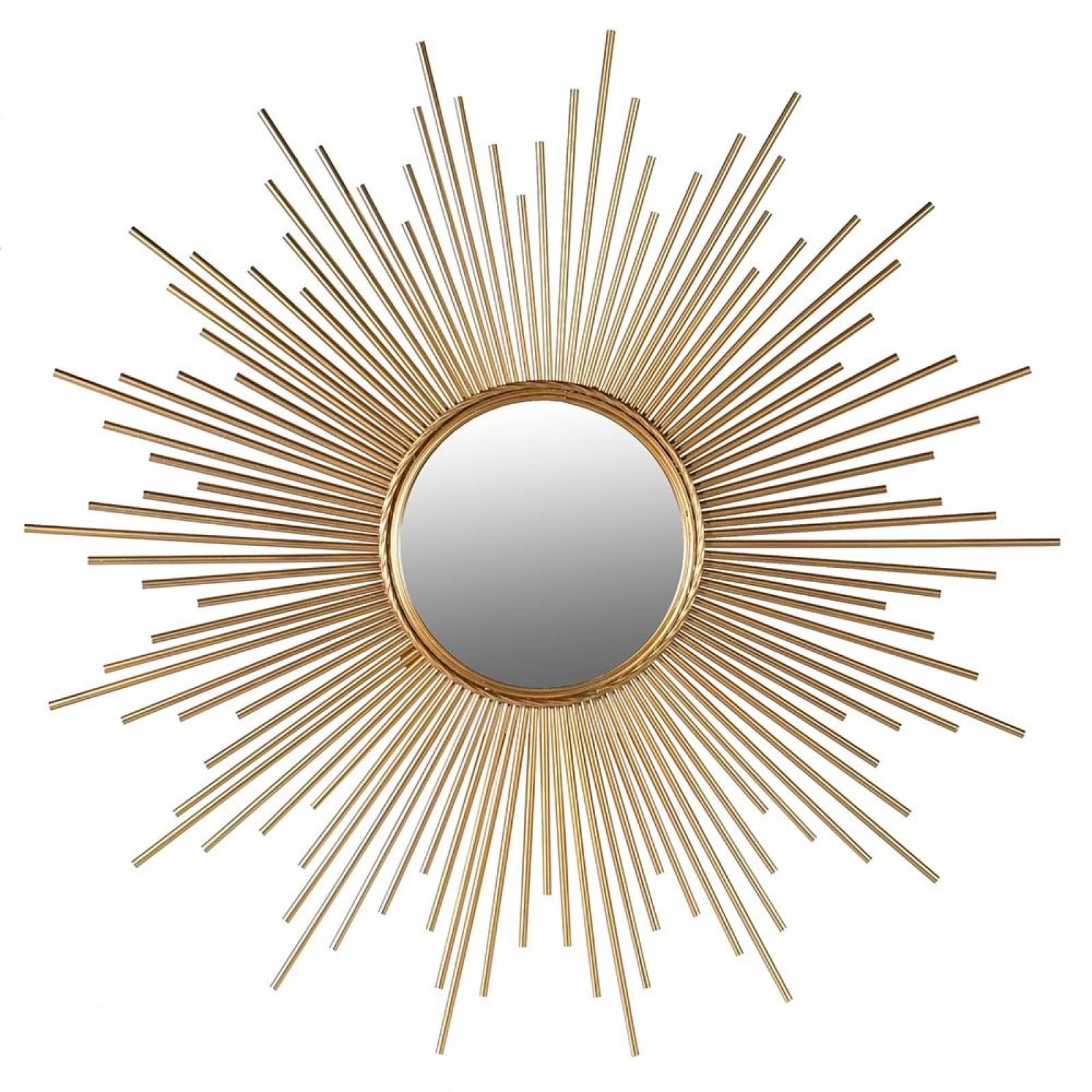 Star Shaped Tubular Sunburst Mirror In Gold