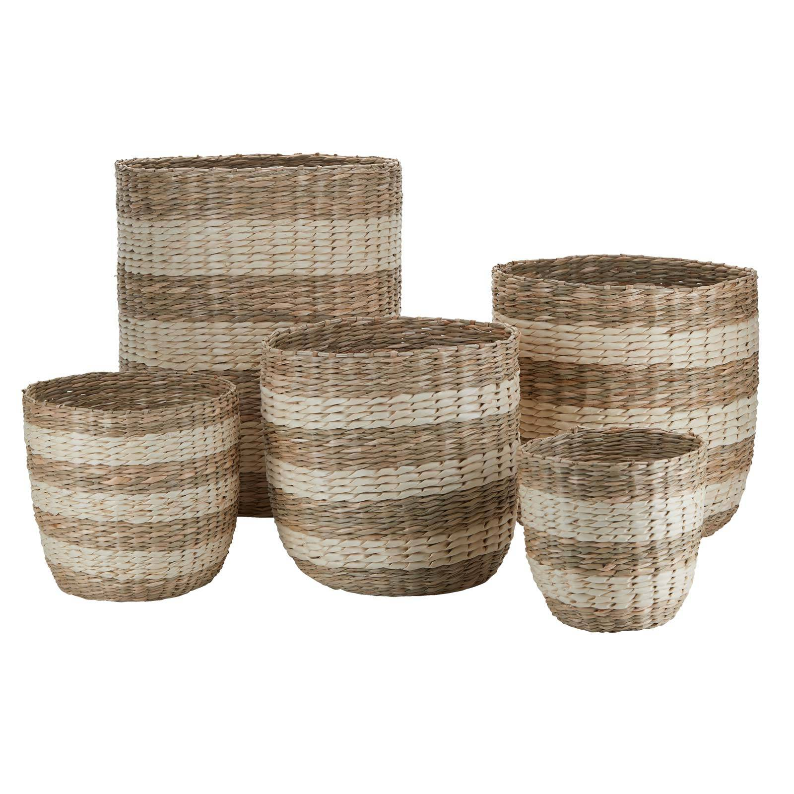 Large Striped Two Tone Striped Basket H:23cm