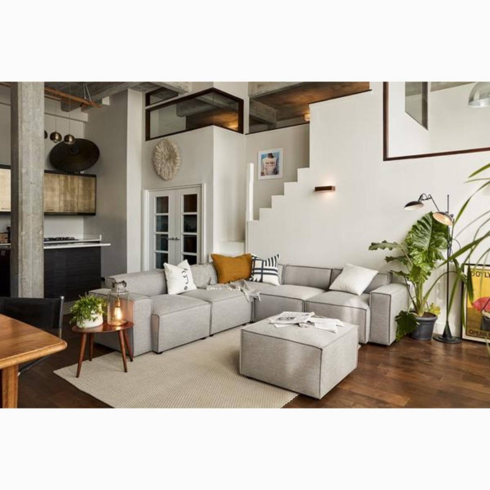 Swyft - Model 03 - Corner Sofa With Ottoman - Linen Shadow thumbnails