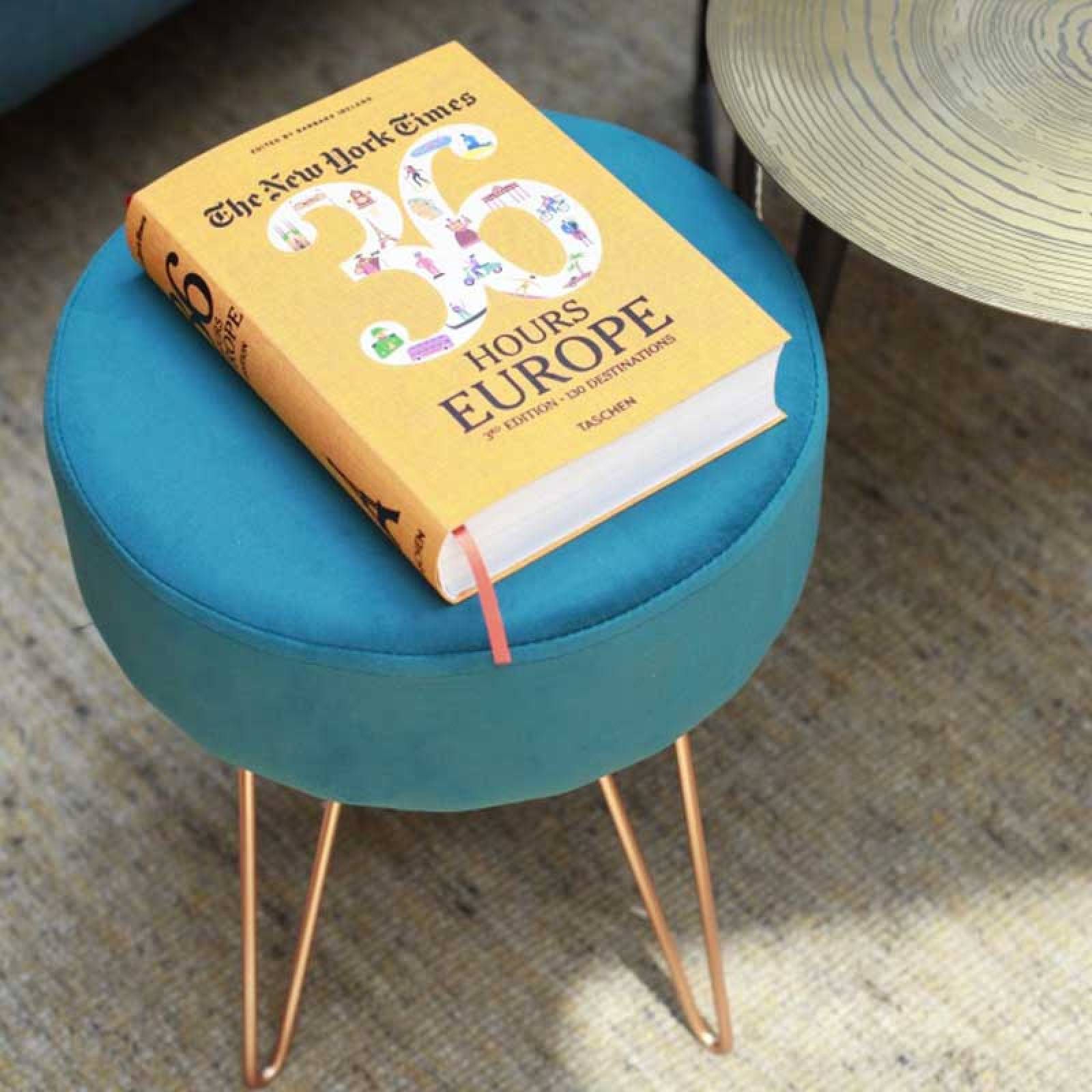 Teal Velvet Circular Stool With Copper Hairpin Legs thumbnails