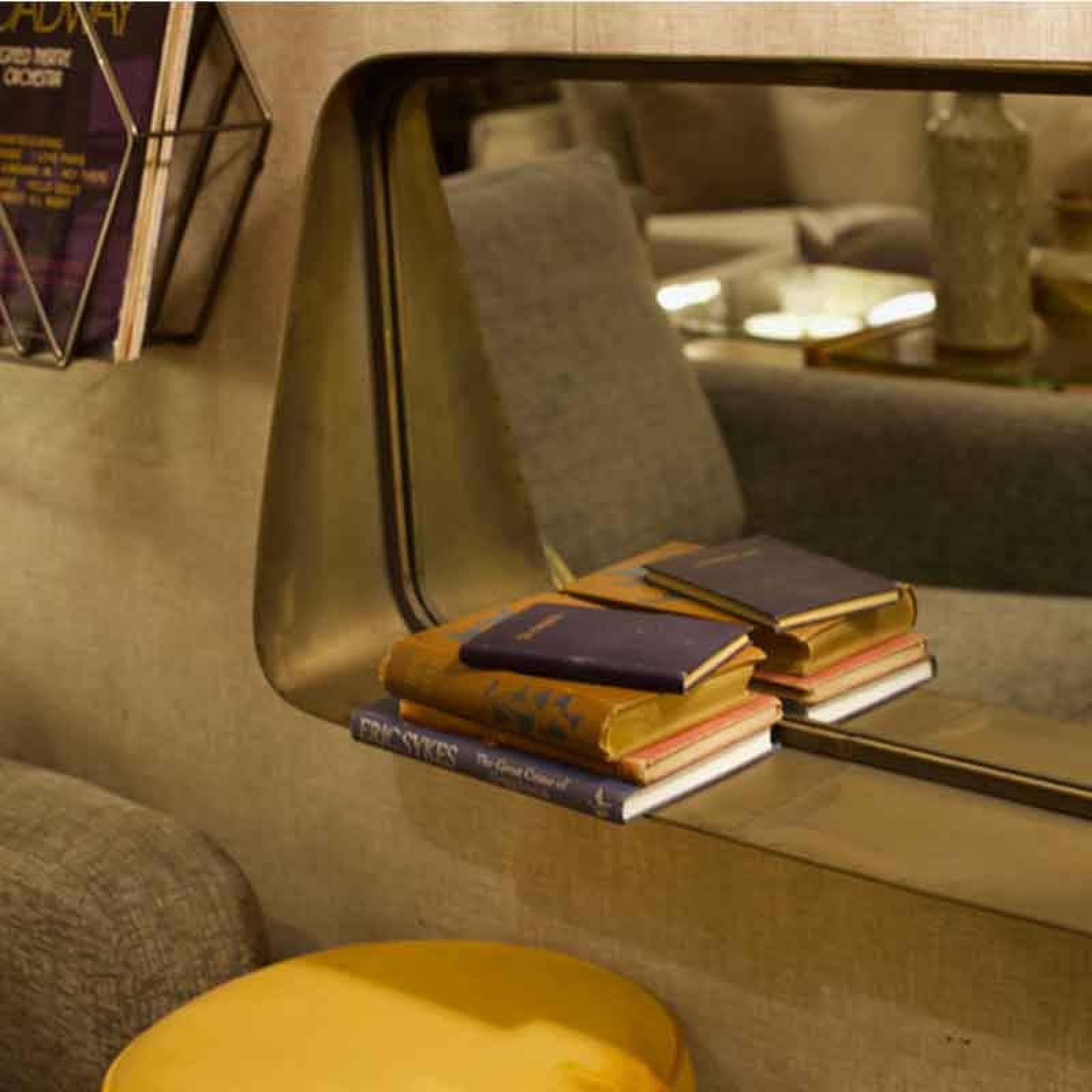 The Earl Landscape Mirror - Metal Sloping With Shelf thumbnails