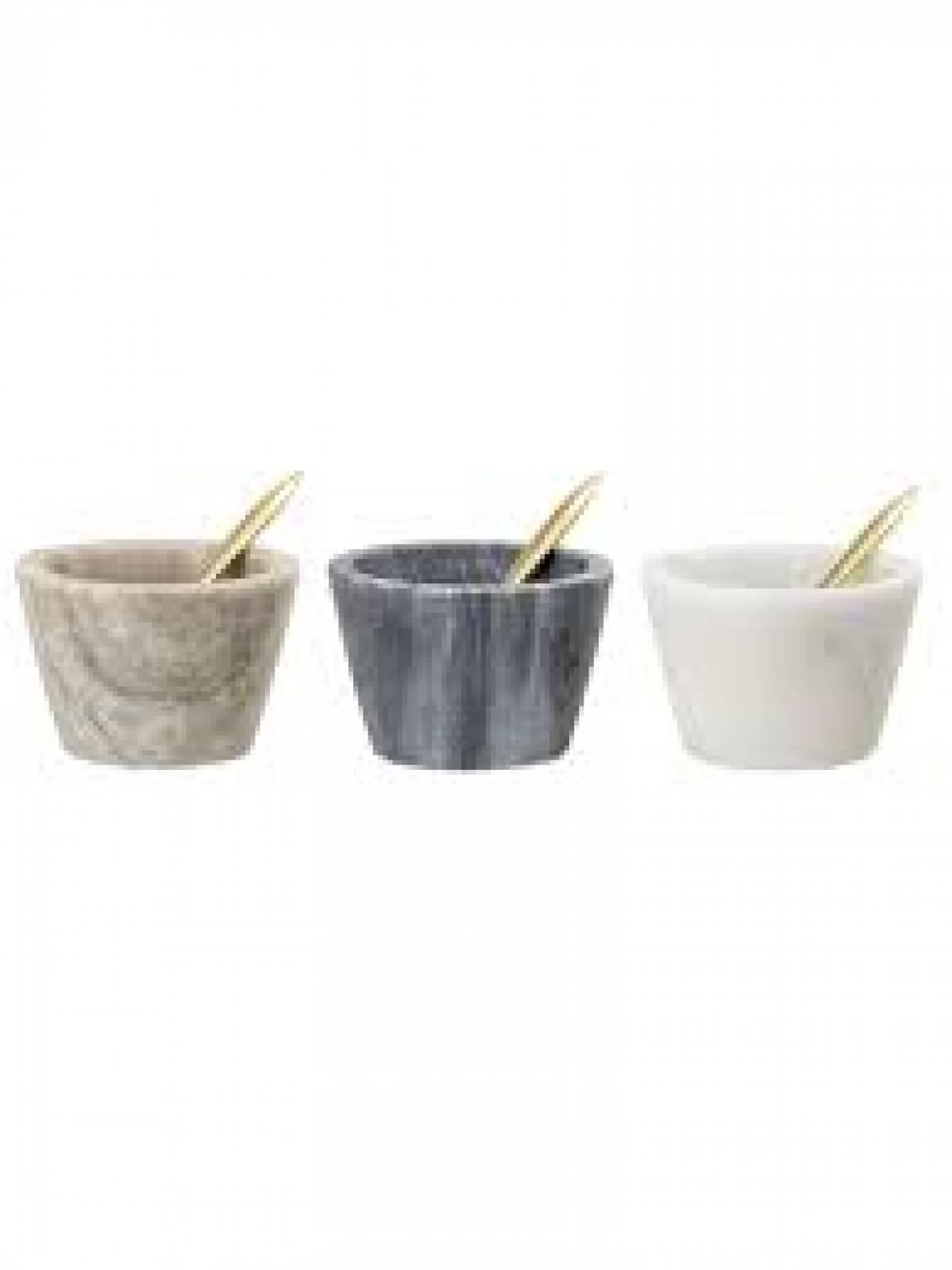 Marble Salt Jar With Spoon Various Colours 7.5x5cm thumbnails