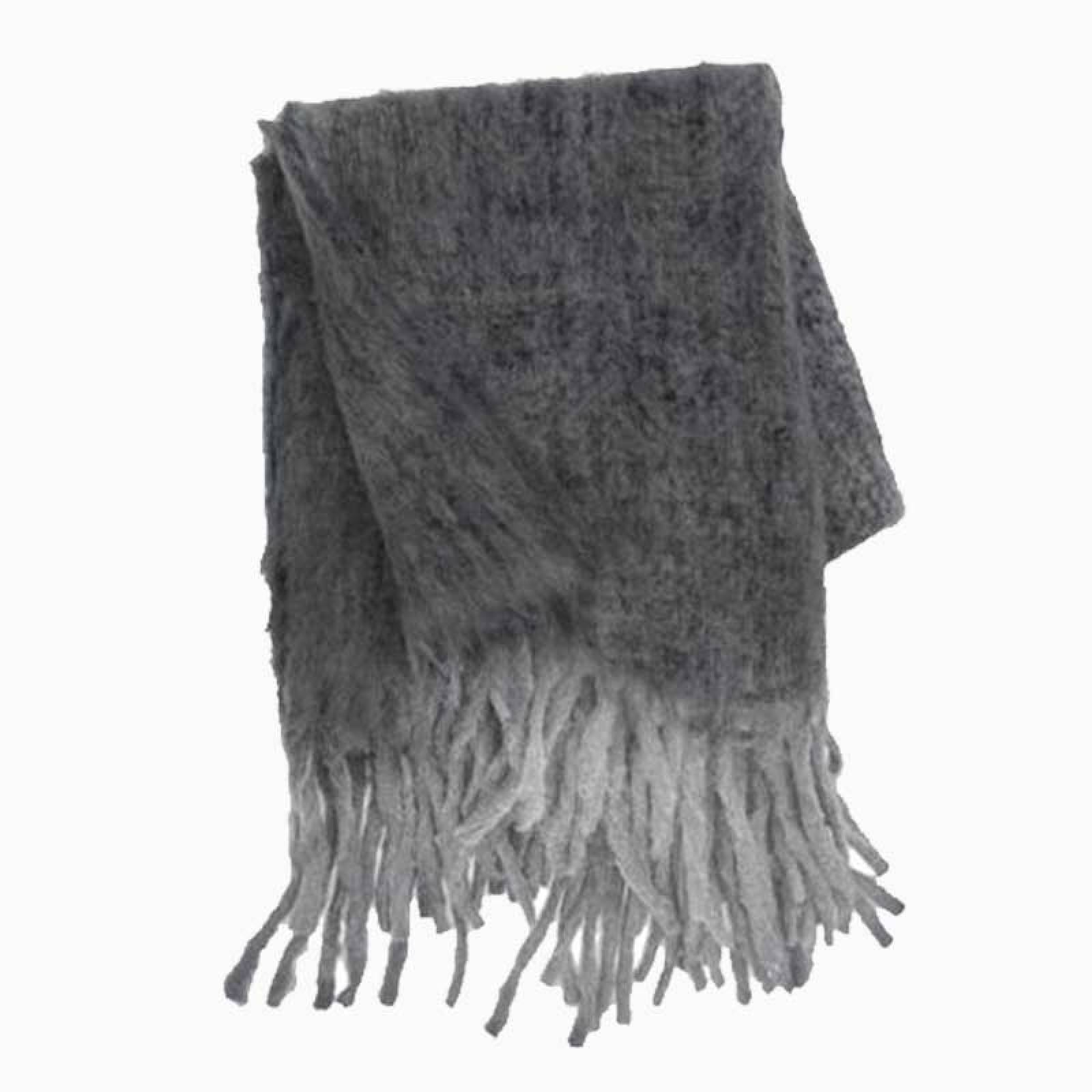 Wool Blanket With Fringing In Ash thumbnails