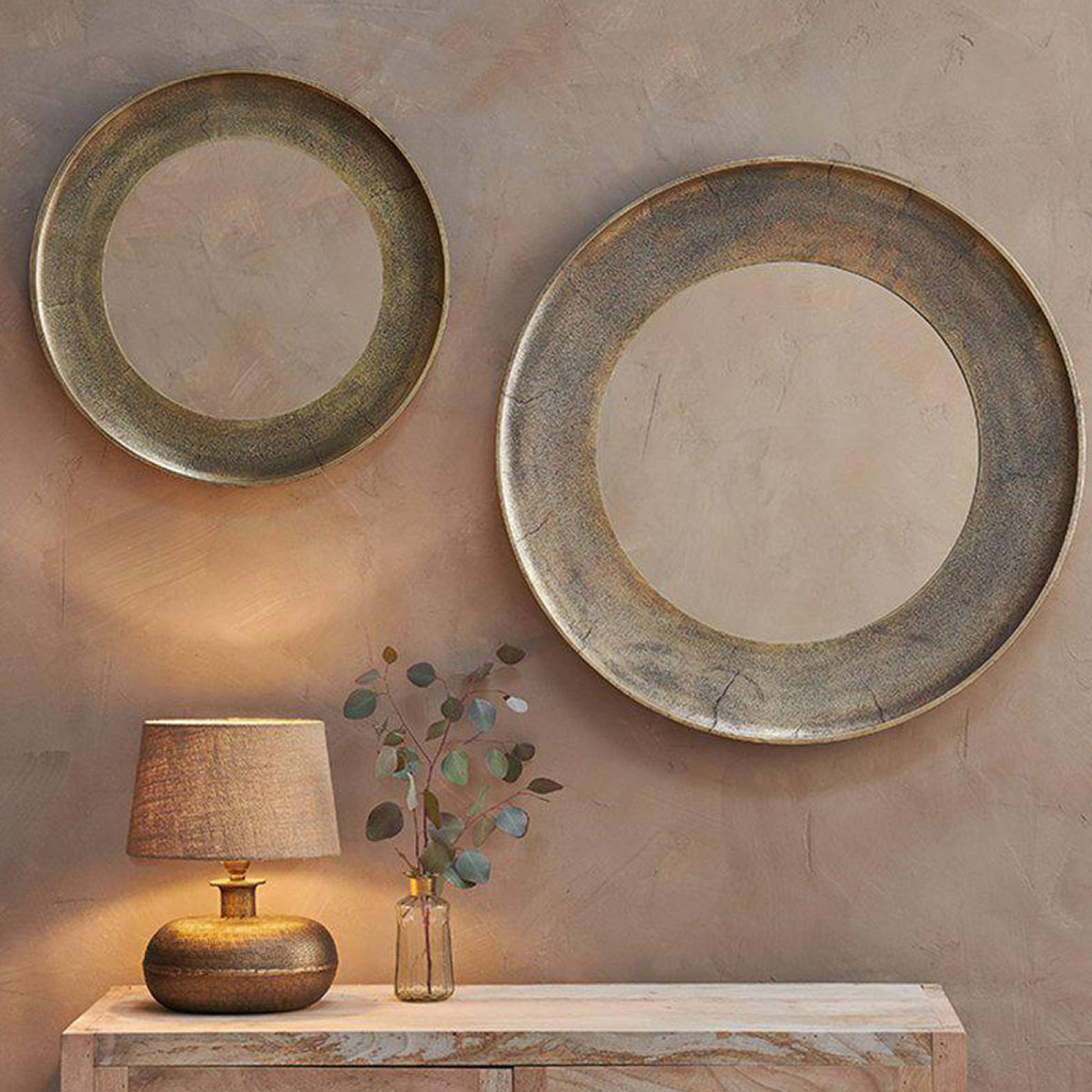 Small Circular Yakira Mirror In Antique Brass Finish thumbnails