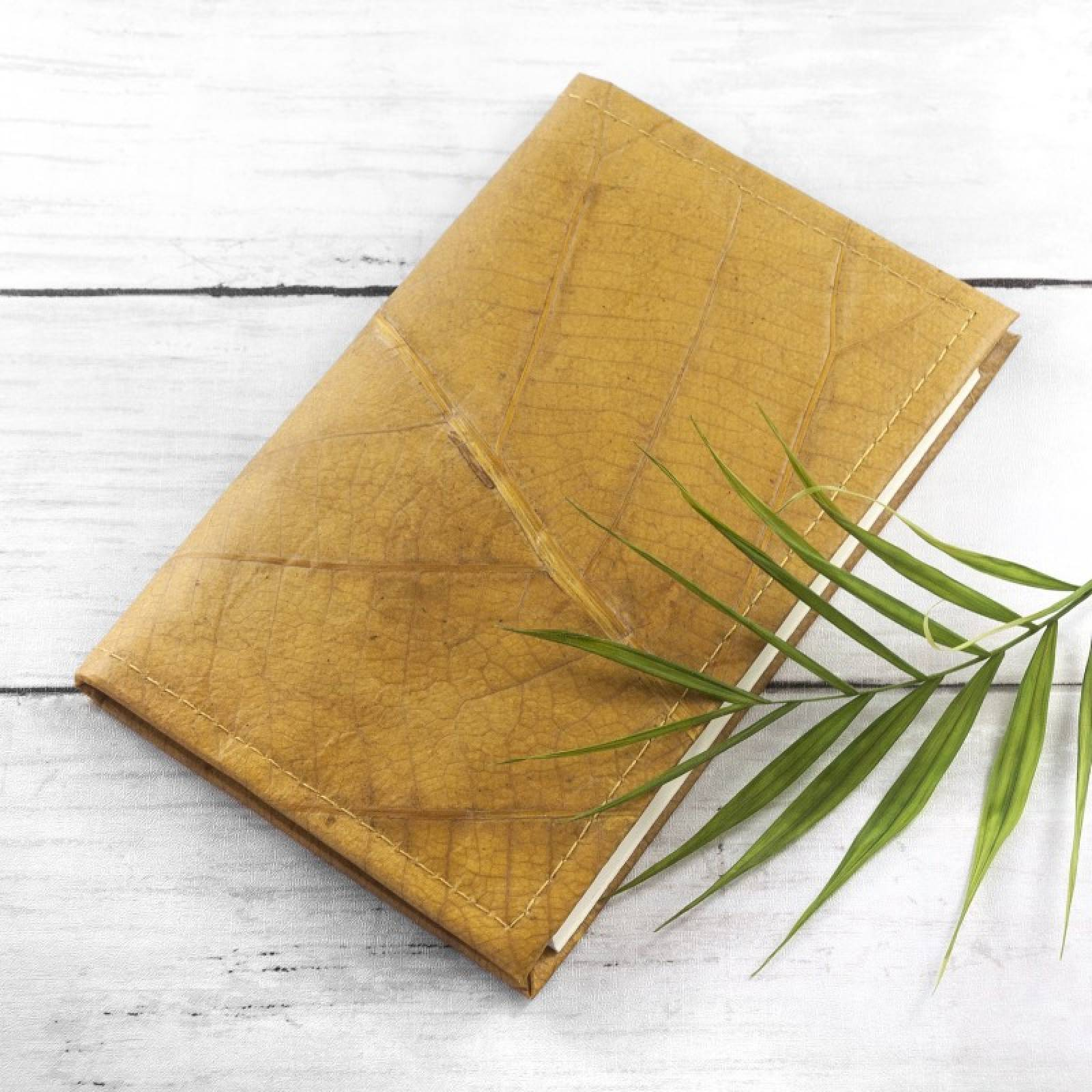 A5 Refillable Journal In Leaf Leather - Yellow