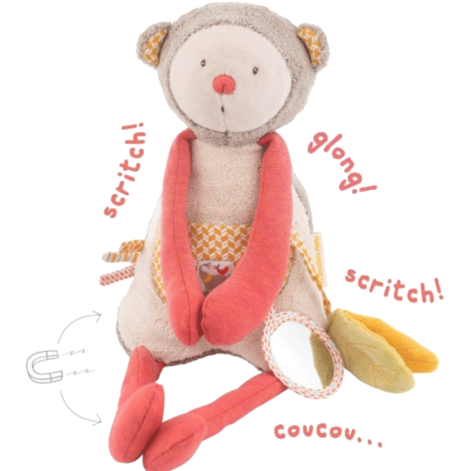 La Papoum Activity Monkey 37cm Soft Toy 0+