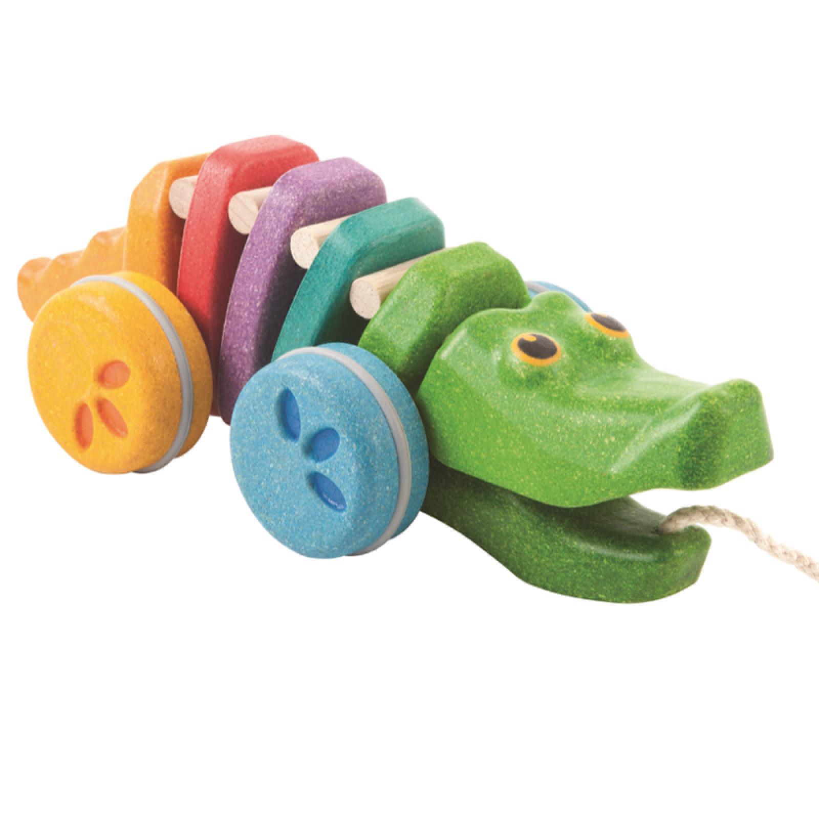 Pull Along Dancing Alligator Rainbow 12m+ Plan Toys
