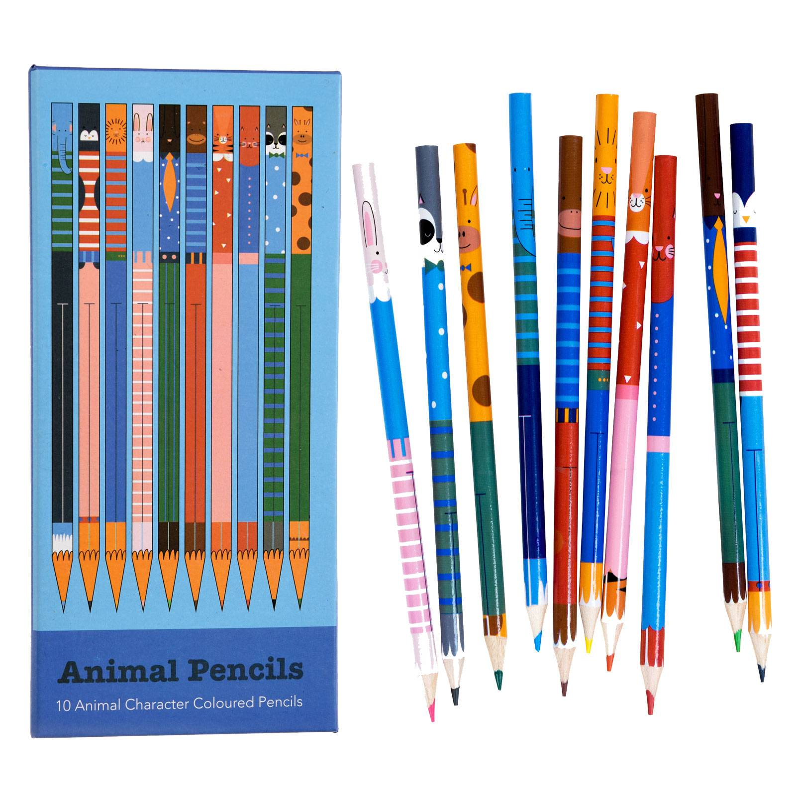 Pack Of 10 Animal Colouring Pencils