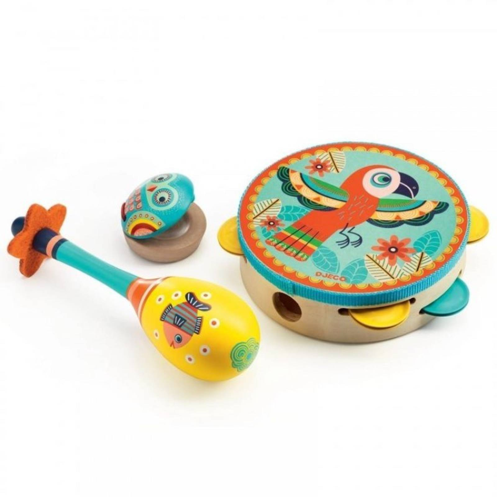 Animambo Set Of 3 Wooden Instruments By Djeco 3+
