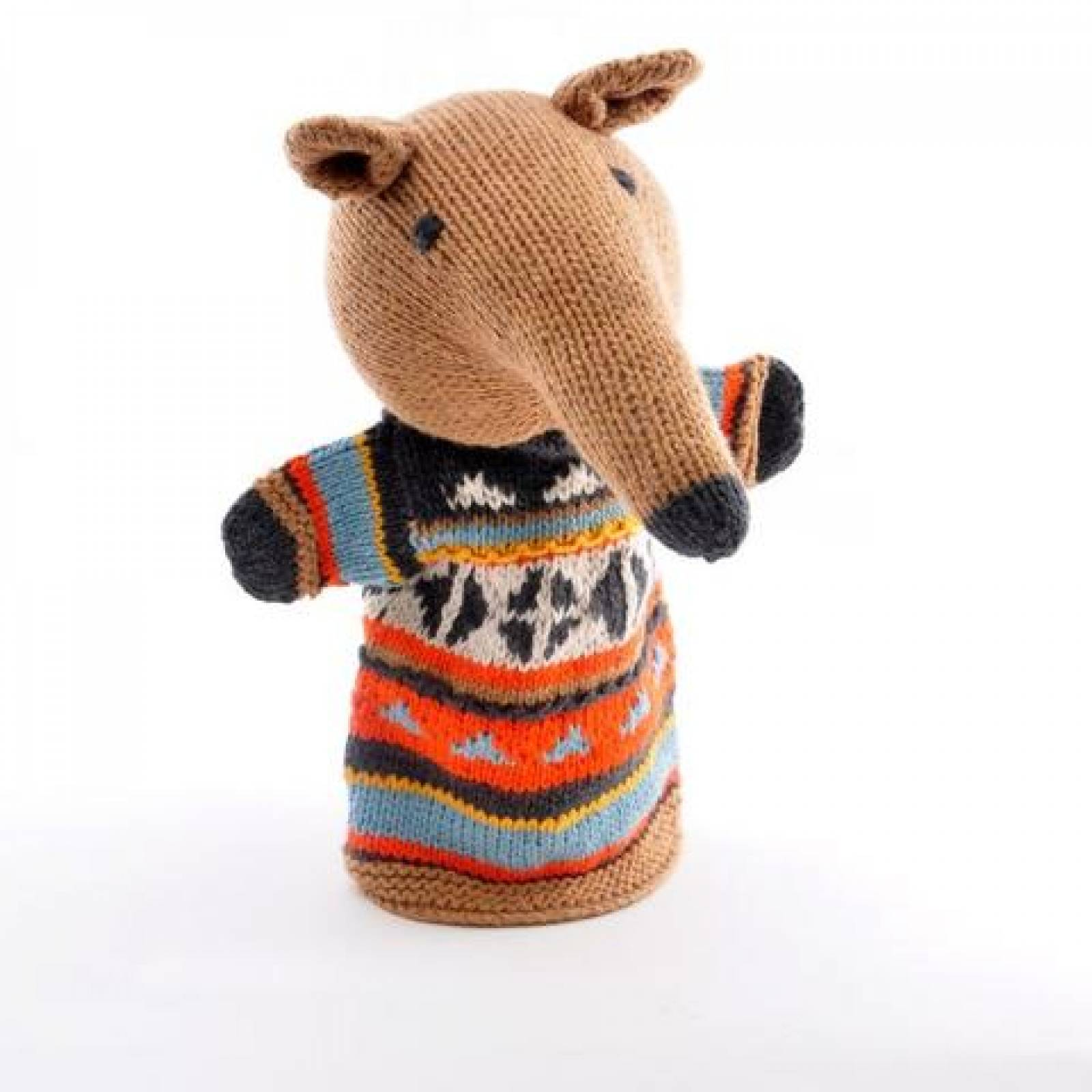 Anteater - Hand Knitted Glove Puppet Organic Cotton