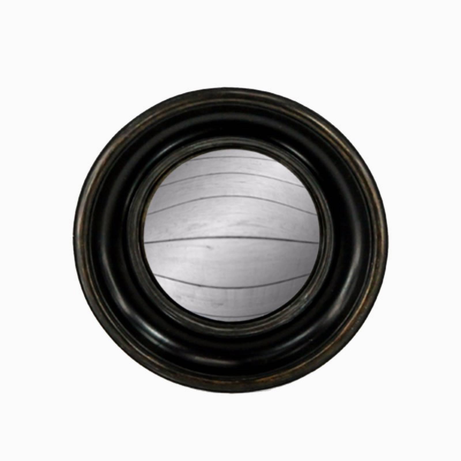 Antiqued Black Deep Framed Medium Convex Mirror D:23cm