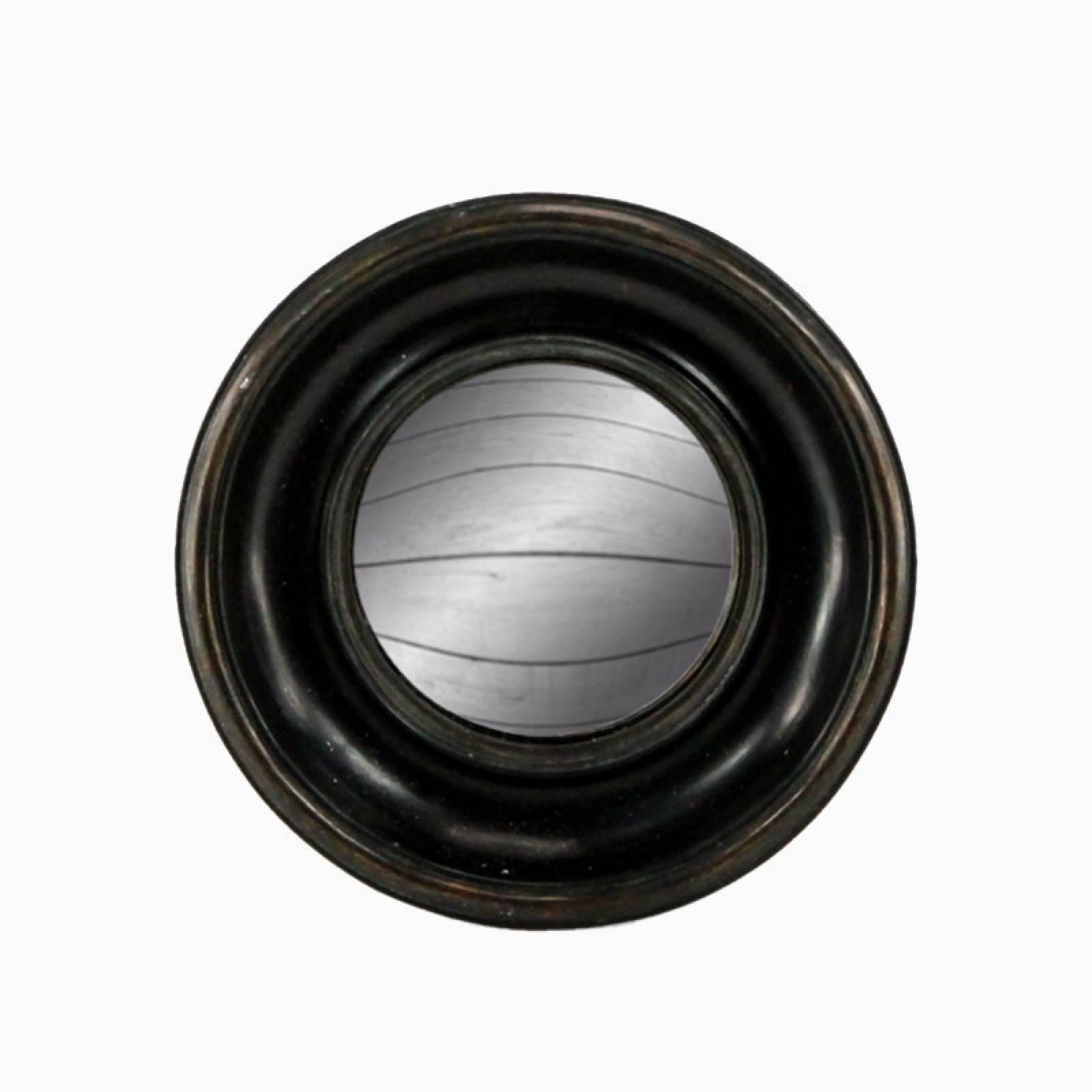 Antiqued Black Deep Framed Small Convex Mirror D:19cm