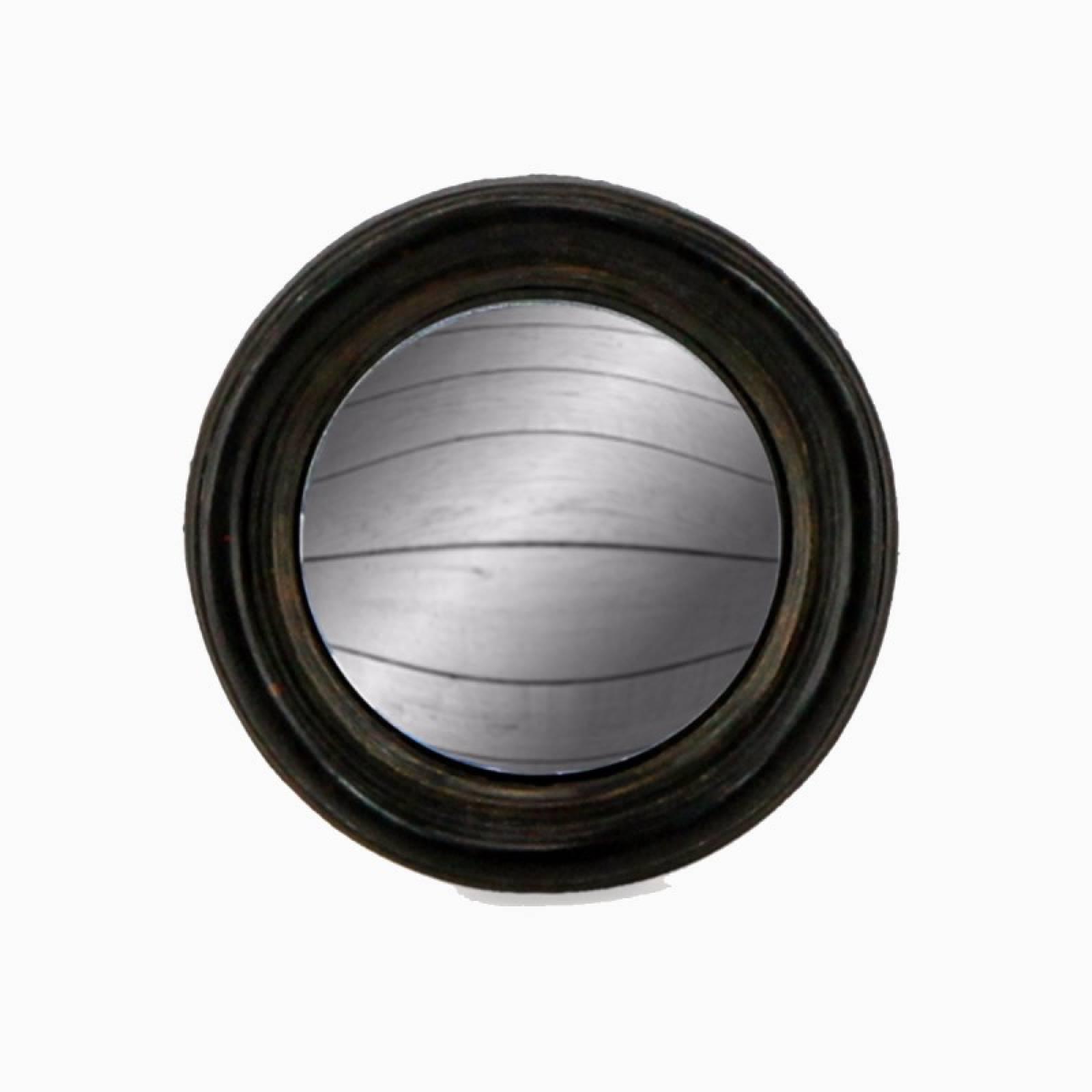 Antiqued Black Thin Framed Extra Small Convex Mirror D:9.5cm