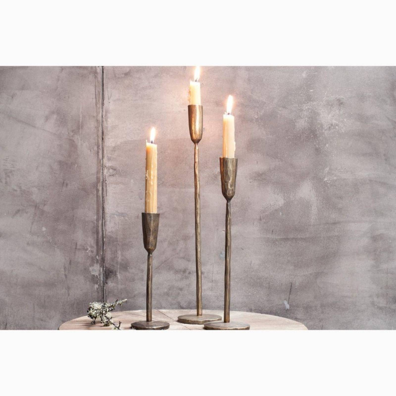 Small Antiqued Brass Candlestick H:20cm thumbnails