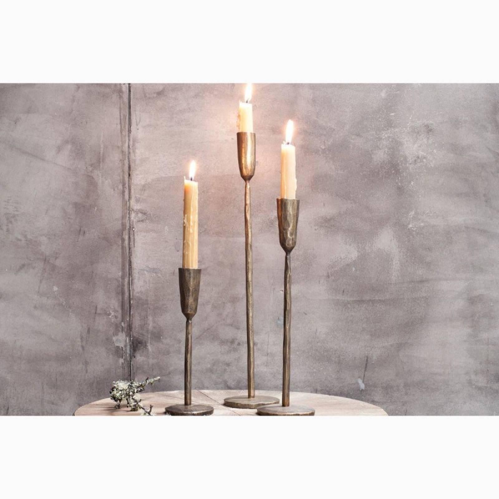 Medium Antiqued Brass Candlestick H:30cm thumbnails