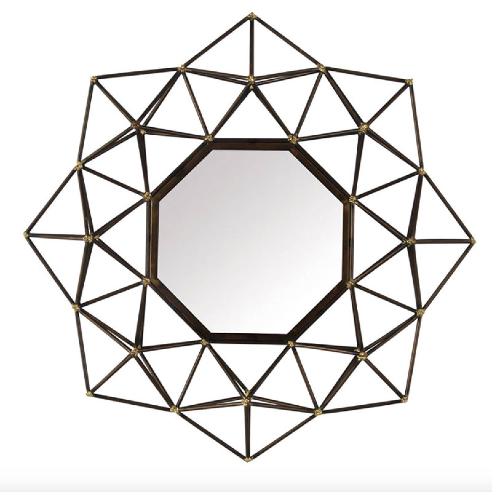 Atom Mirror 3D Black Metal With Gold Spot Joints