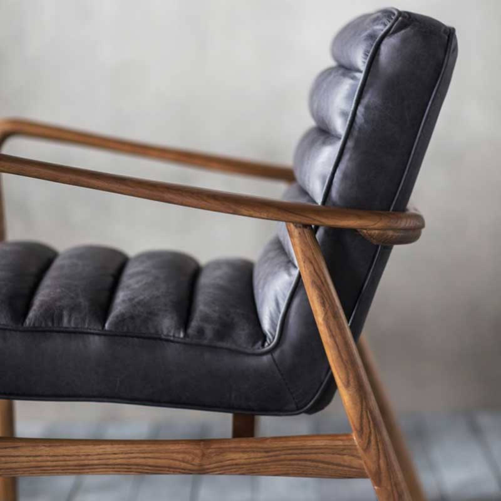 Auto Ebony Black Leather and Oak Armchair thumbnails