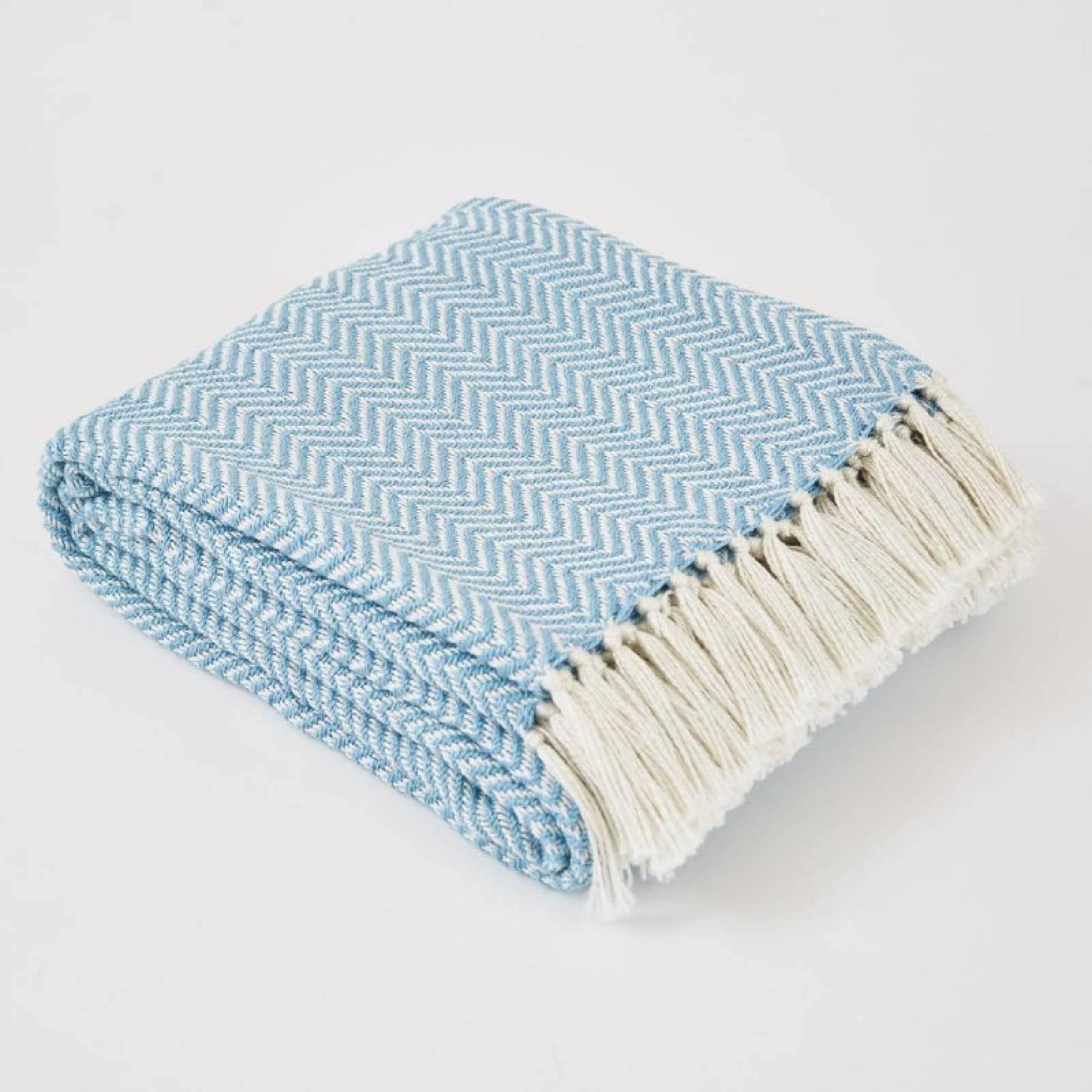 Azure Herringbone Blanket - Made From Recycled Plastic Bottles