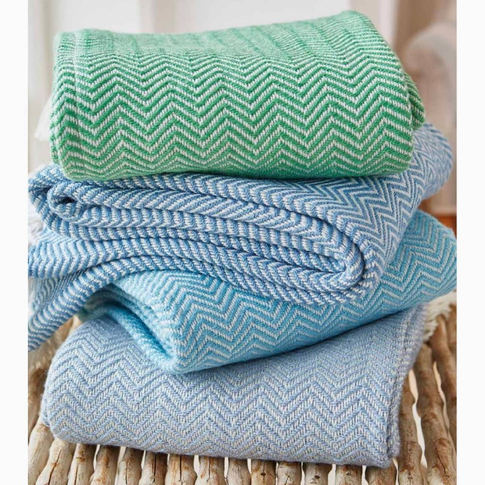 Azure Herringbone Blanket - Made From Recycled Plastic Bottles thumbnails