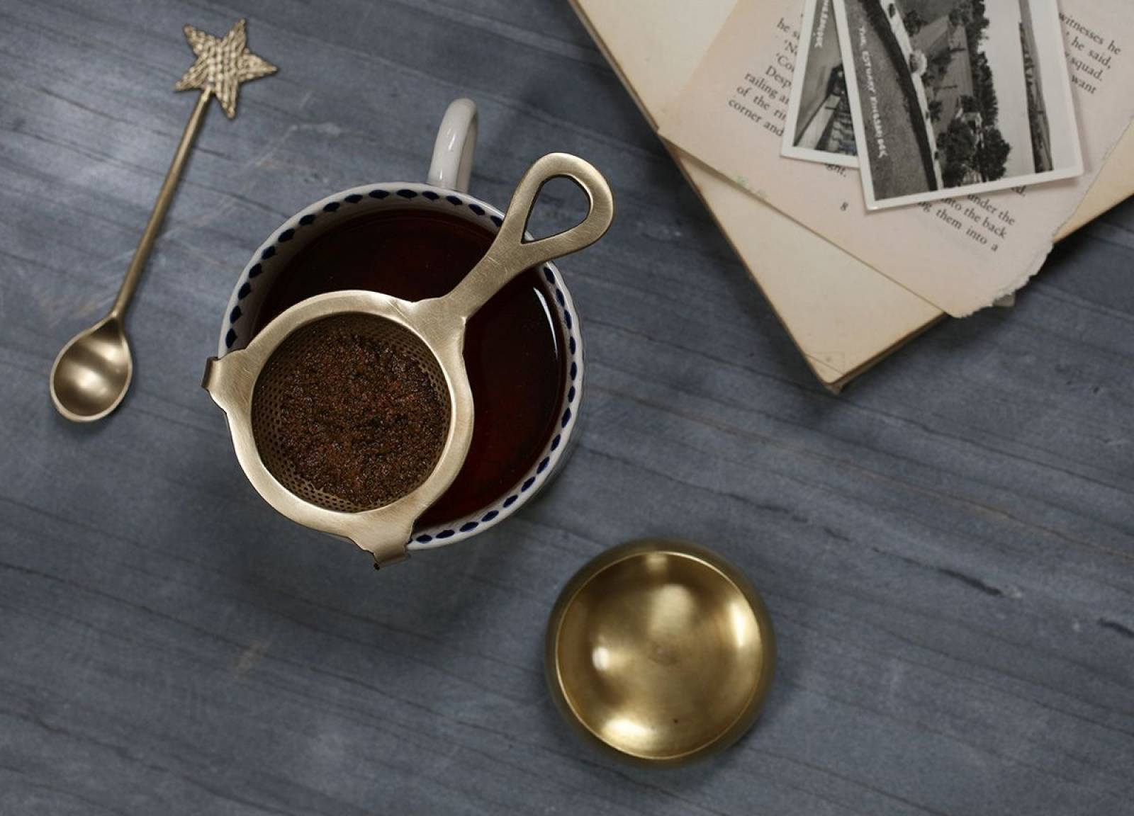 Antiqued Brass Tea Strainer With Stand thumbnails