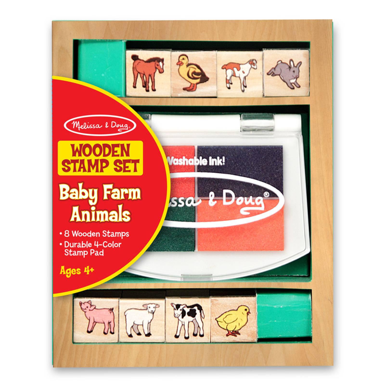Wooden Stamp Set - Baby Farm Animals 4+