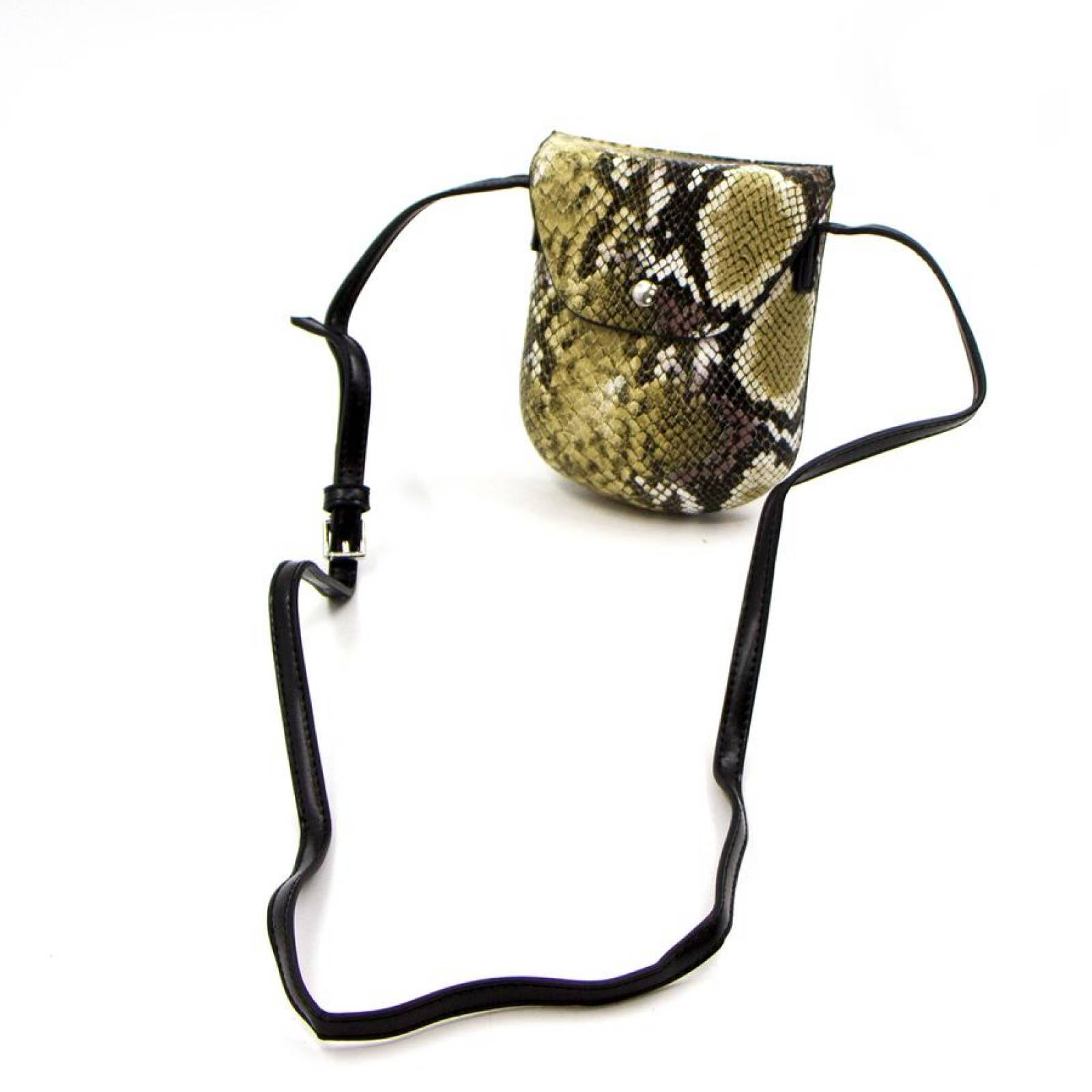 Snake Print Hard Cross Body Pouch Bag In Green thumbnails