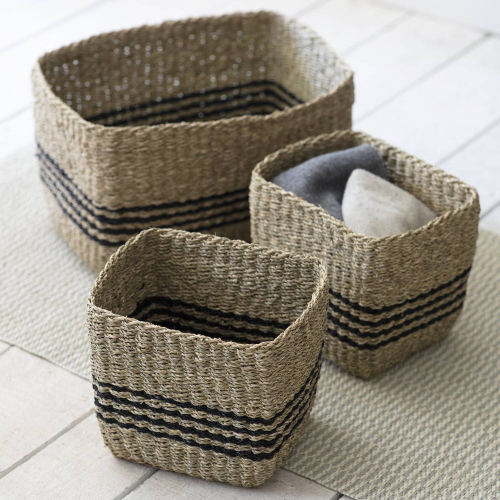 Squared Jute Baskets With Black Stripe Set of 3