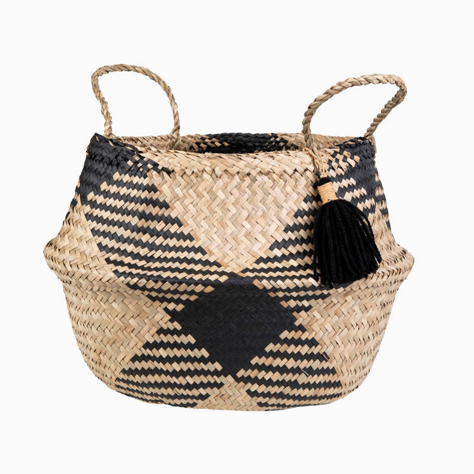 Black And Natural Seagrass Tassle Basket