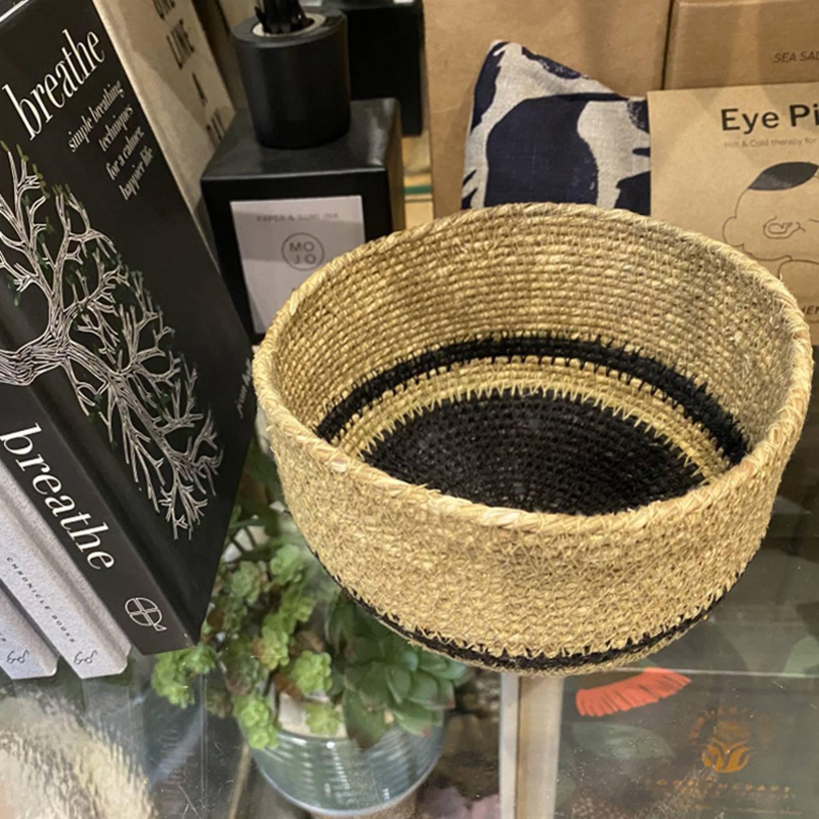 Small Black & Natural Seagrass Tapered Basket thumbnails