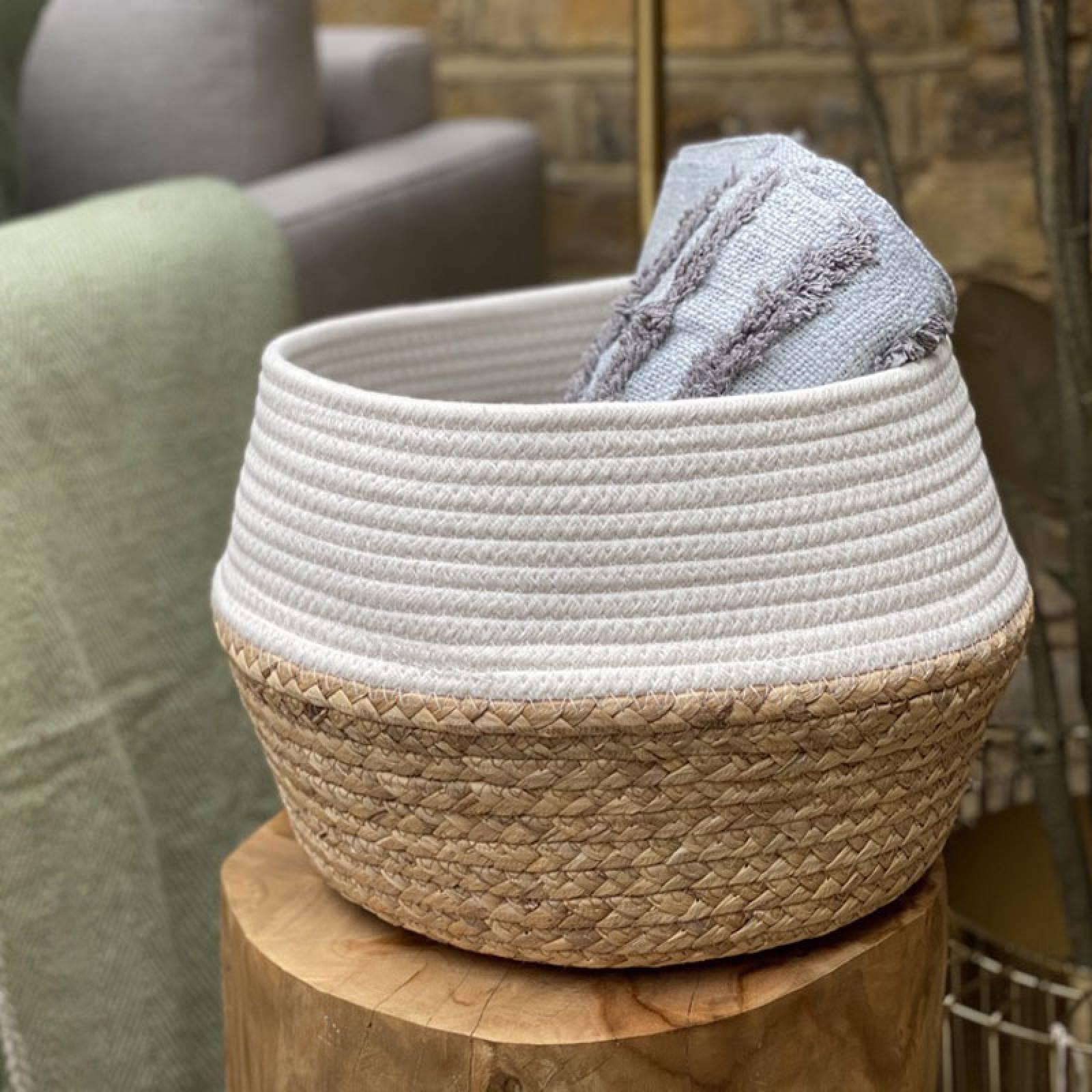 White Dip Rope & Grass Basket thumbnails