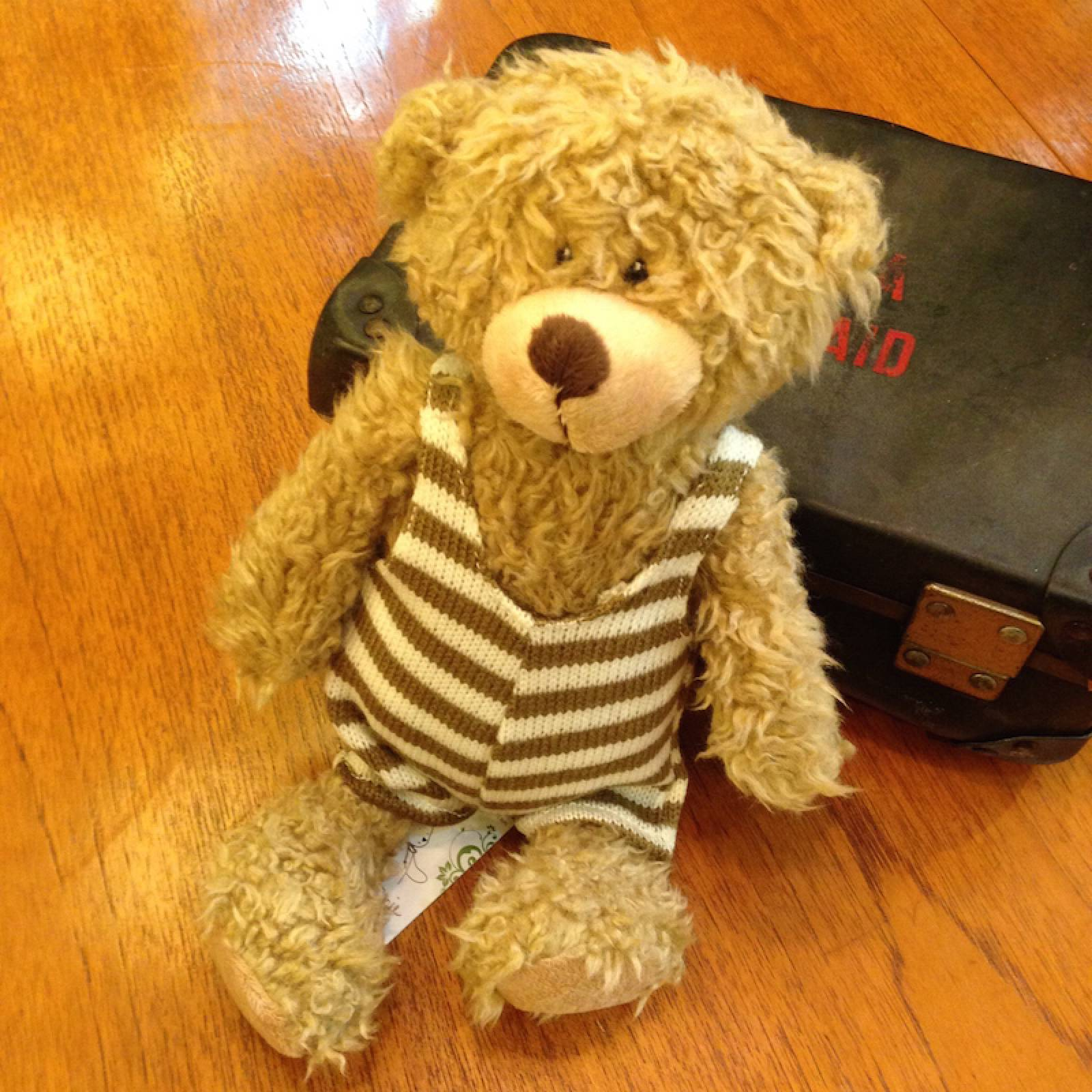 Bear Soft Toy Striped Dungarees In Decorative Gift Bag 35cm