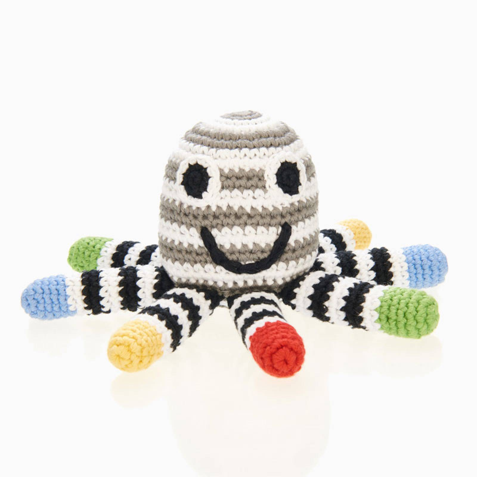 Crochet Octopus Rattle In Black And White 0+