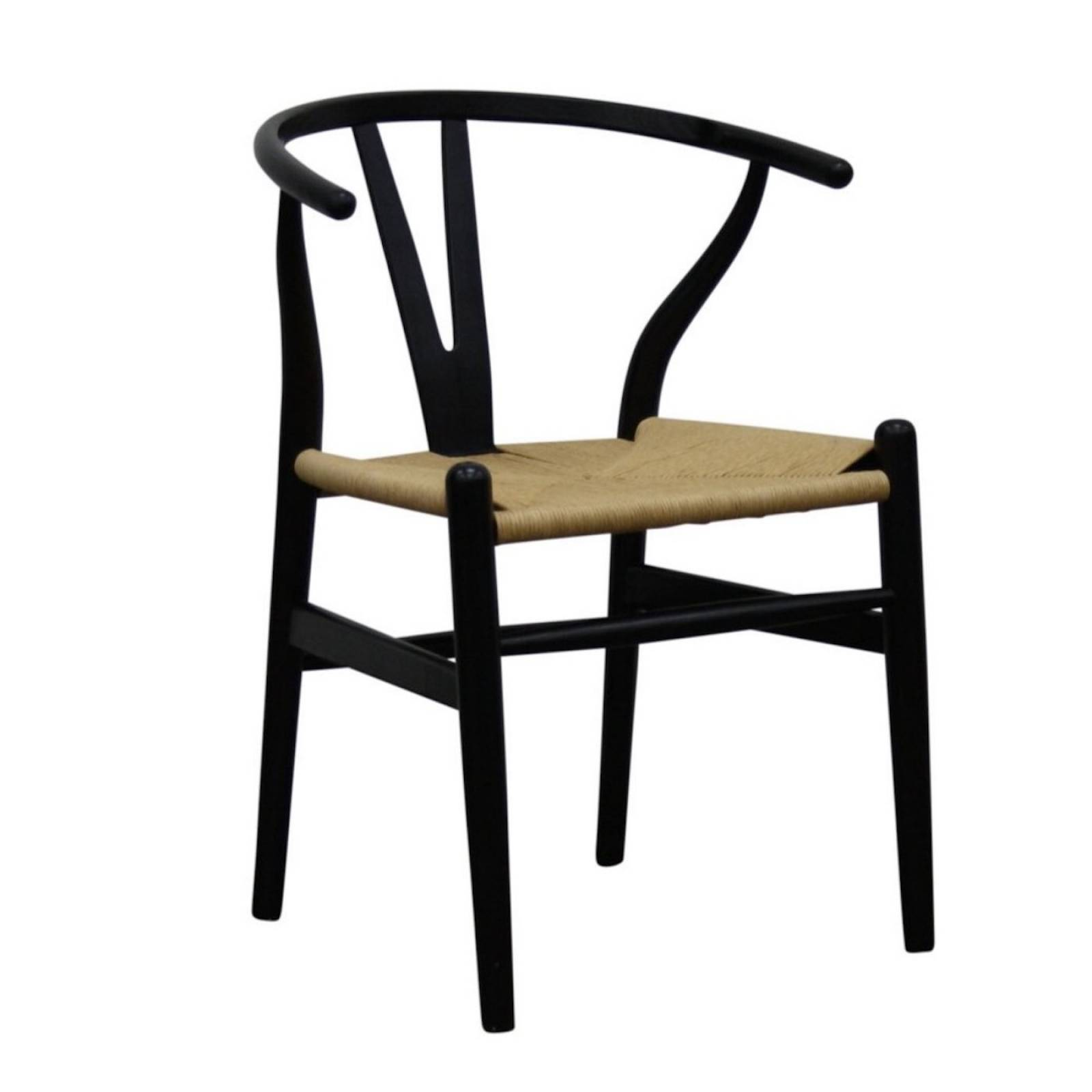 Mid-Century Style Curve Back Elm Chair in Black
