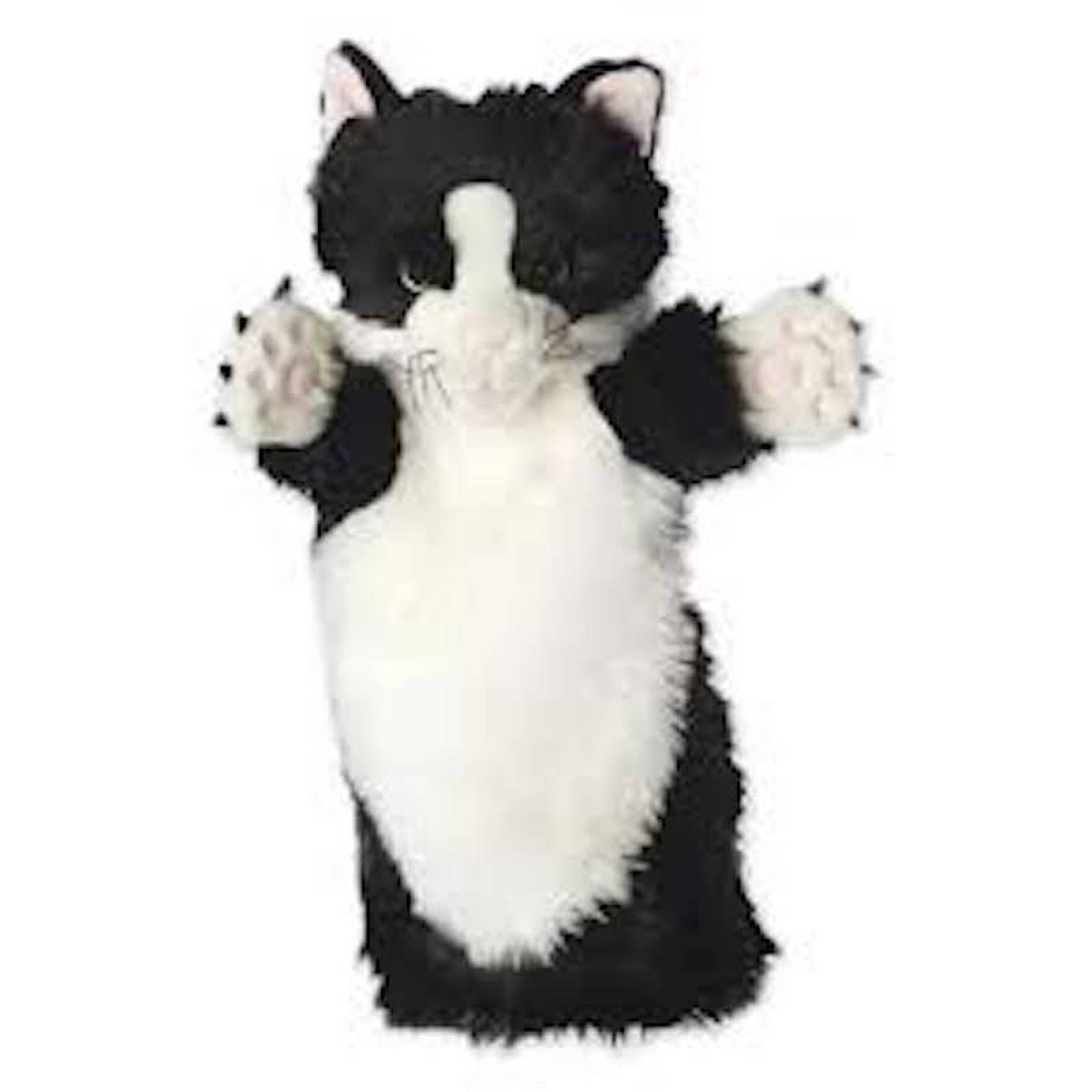 BLACK AND WHITE CAT Long Sleeved Glove Puppet
