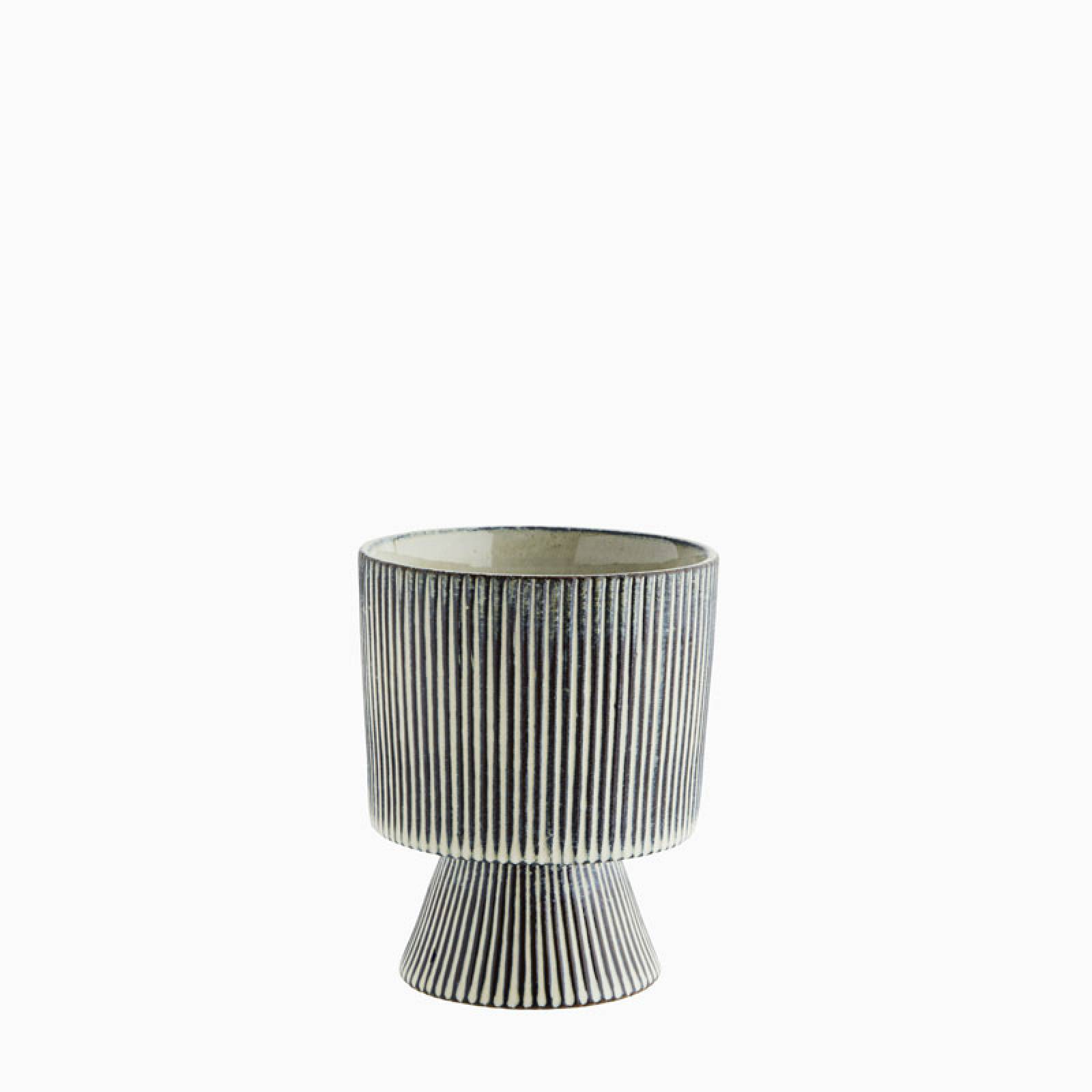 Blue And White Striped Flowerpot On Plinth thumbnails