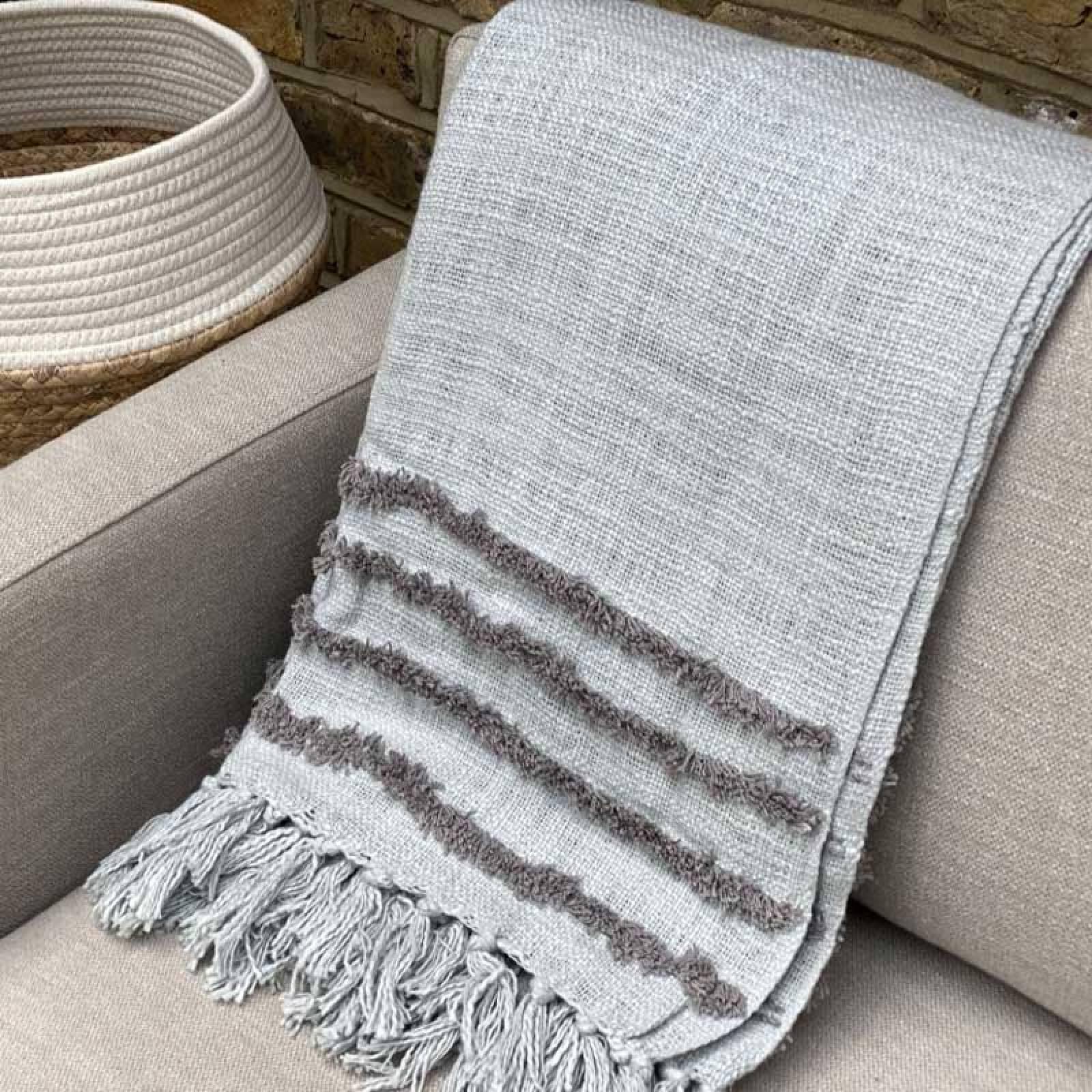 Grey & Blue Tufted Cotton Blanket Throw thumbnails