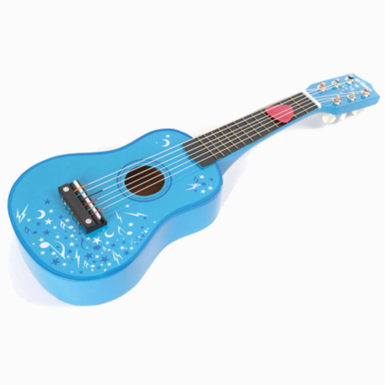 Children's Wooden Guitar In Blue WIth Stars 3+