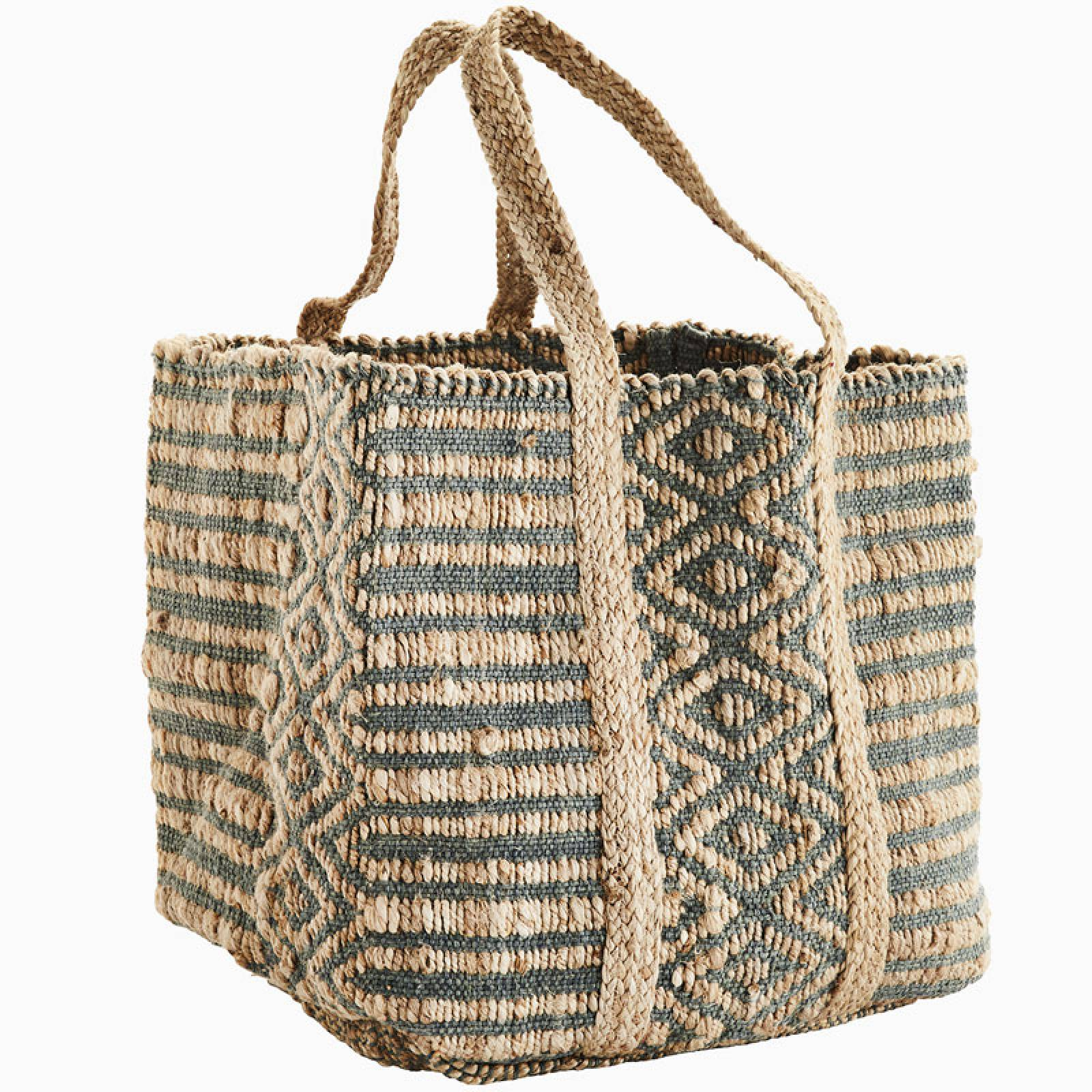 Large Petrol Blue Patterned Jute Bag thumbnails