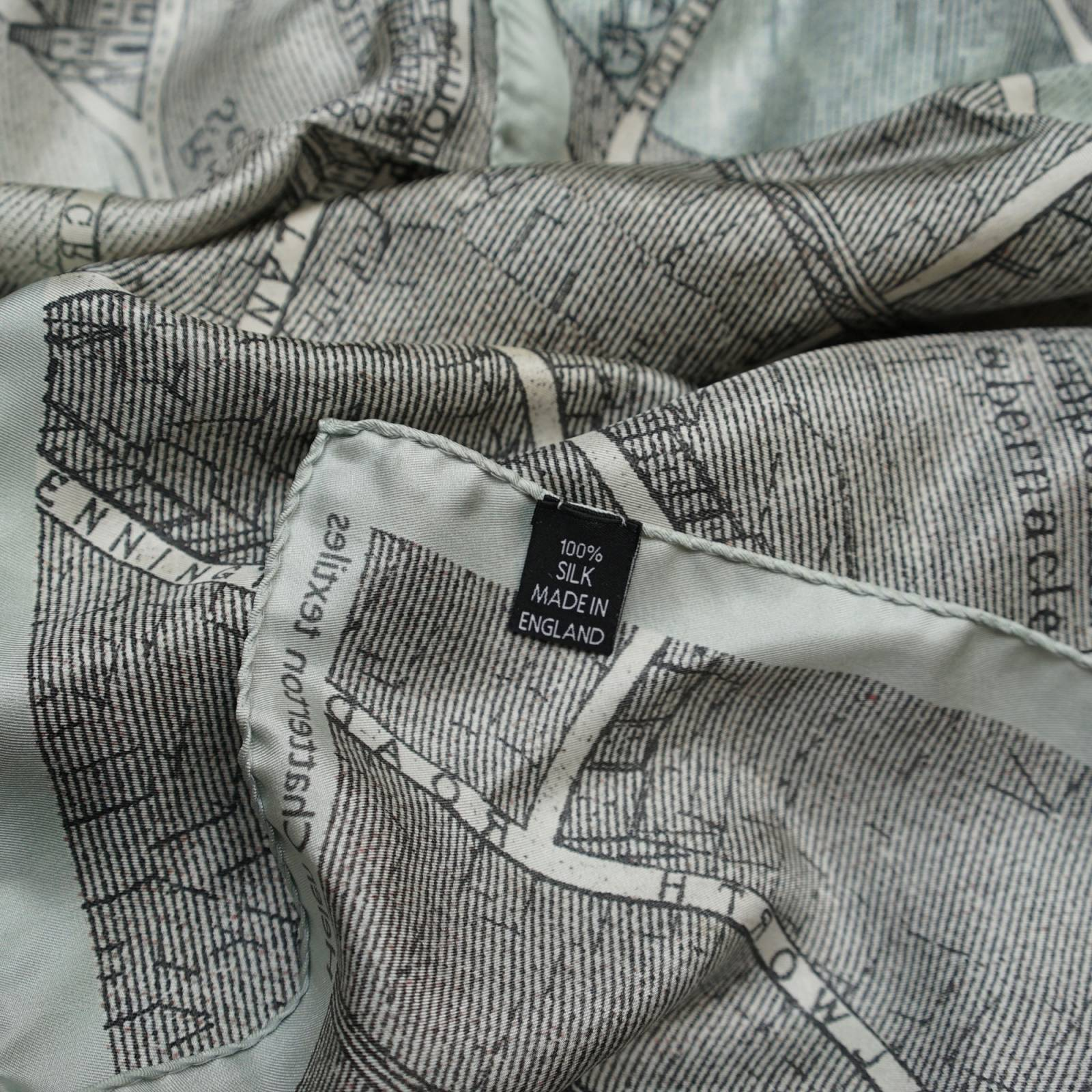 Silk Map Scarf Muted Small by Helen Chatterton Hand Printed thumbnails
